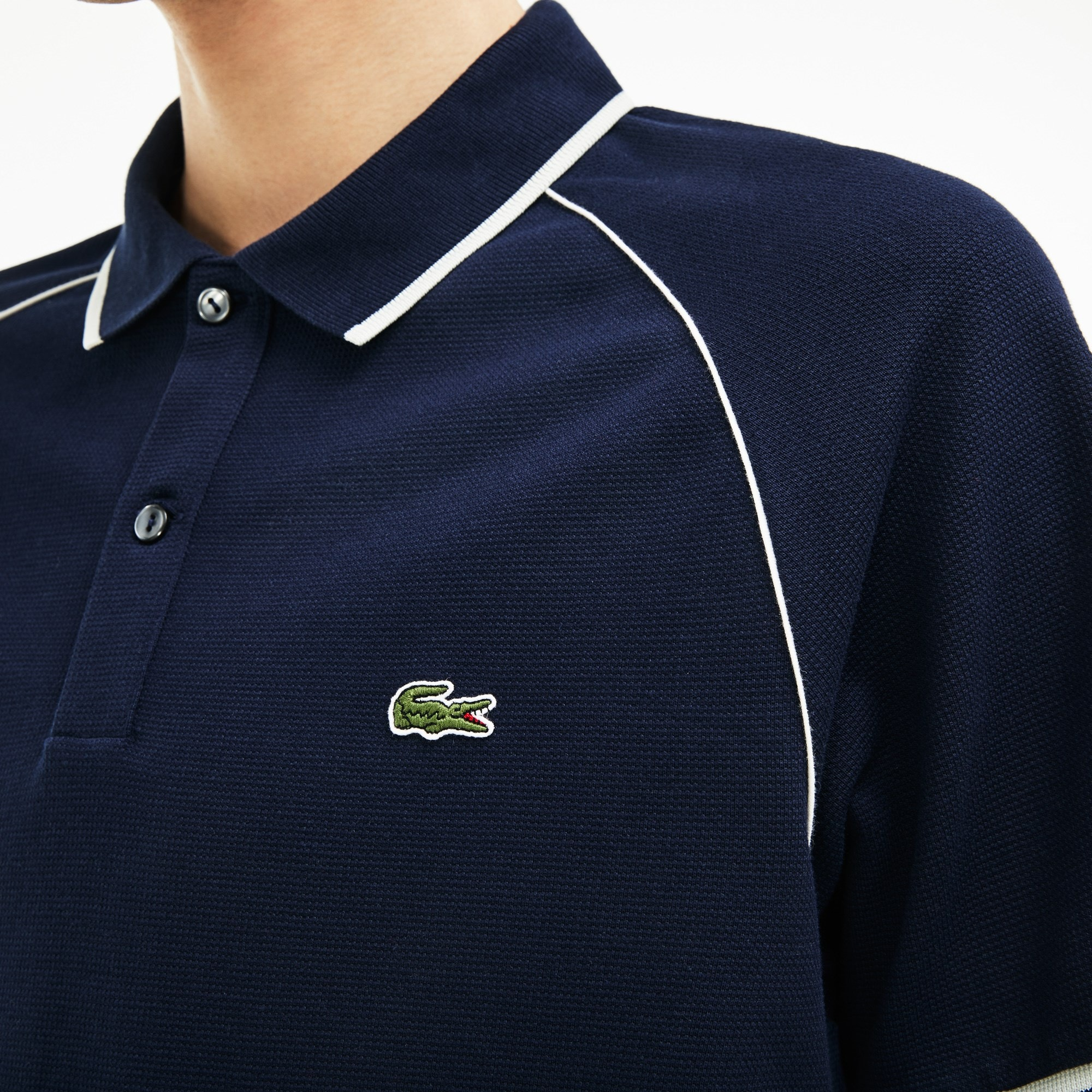 182d86af0e Men's Lacoste Classic Fit Piped Square Knit Polo Shirt