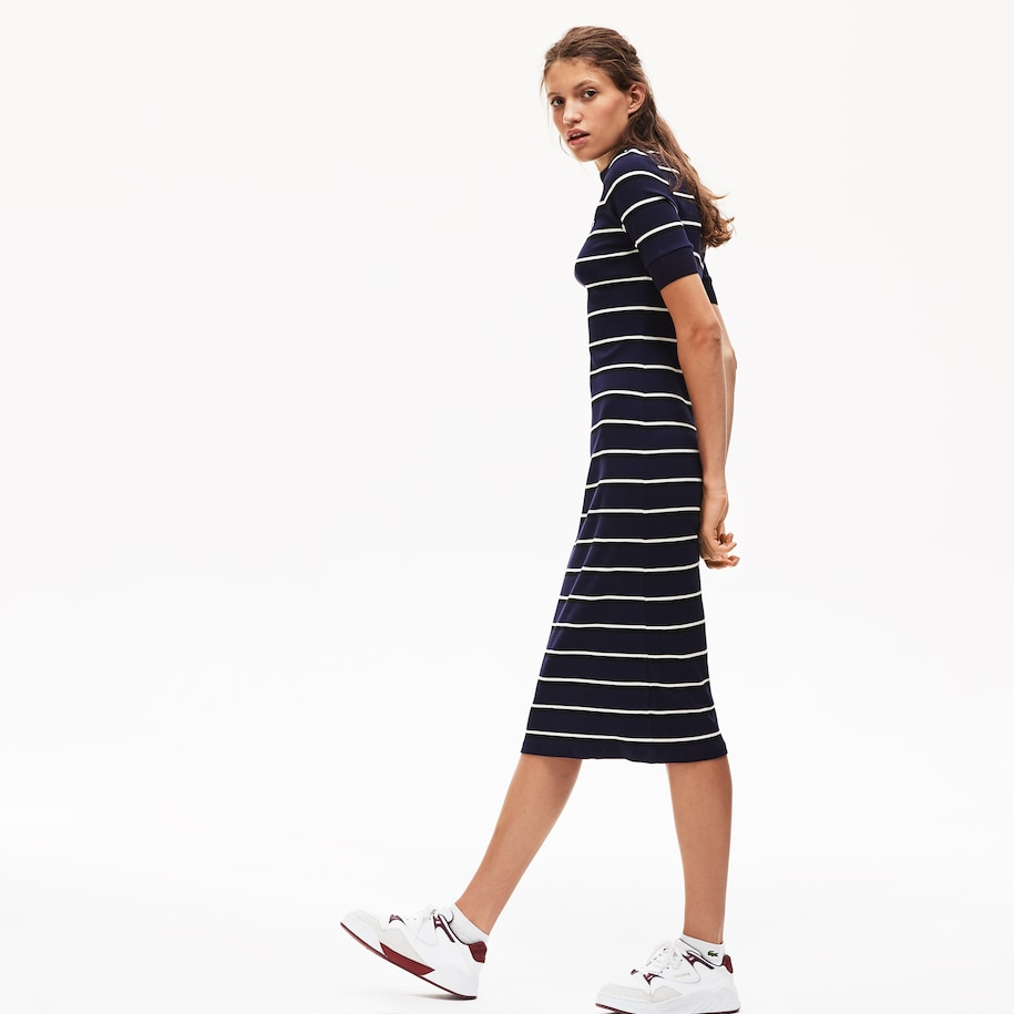 Women's Lacoste LIVE Striped Ribbed Knit Tube Dress