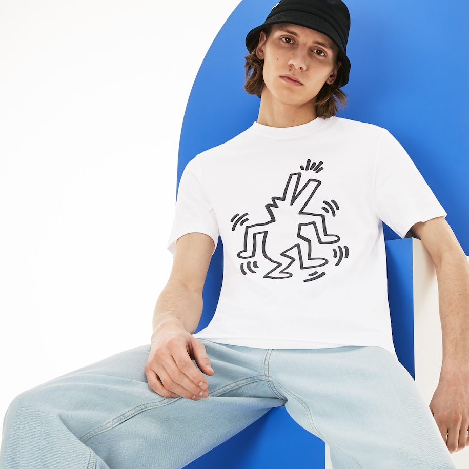 Men's Keith Haring Print Crew Neck Regular Fit Cotton T-shirt
