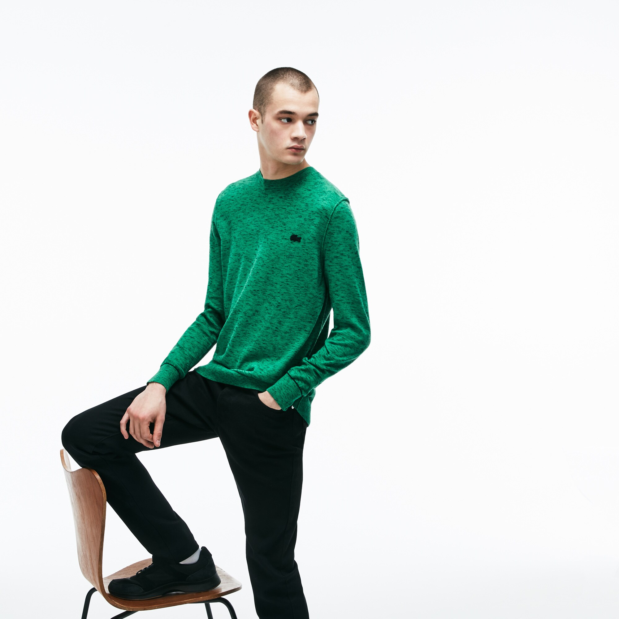 8b11432411 Men's Lacoste LIVE Crew Neck Cotton And Cashmere Jersey Sweater