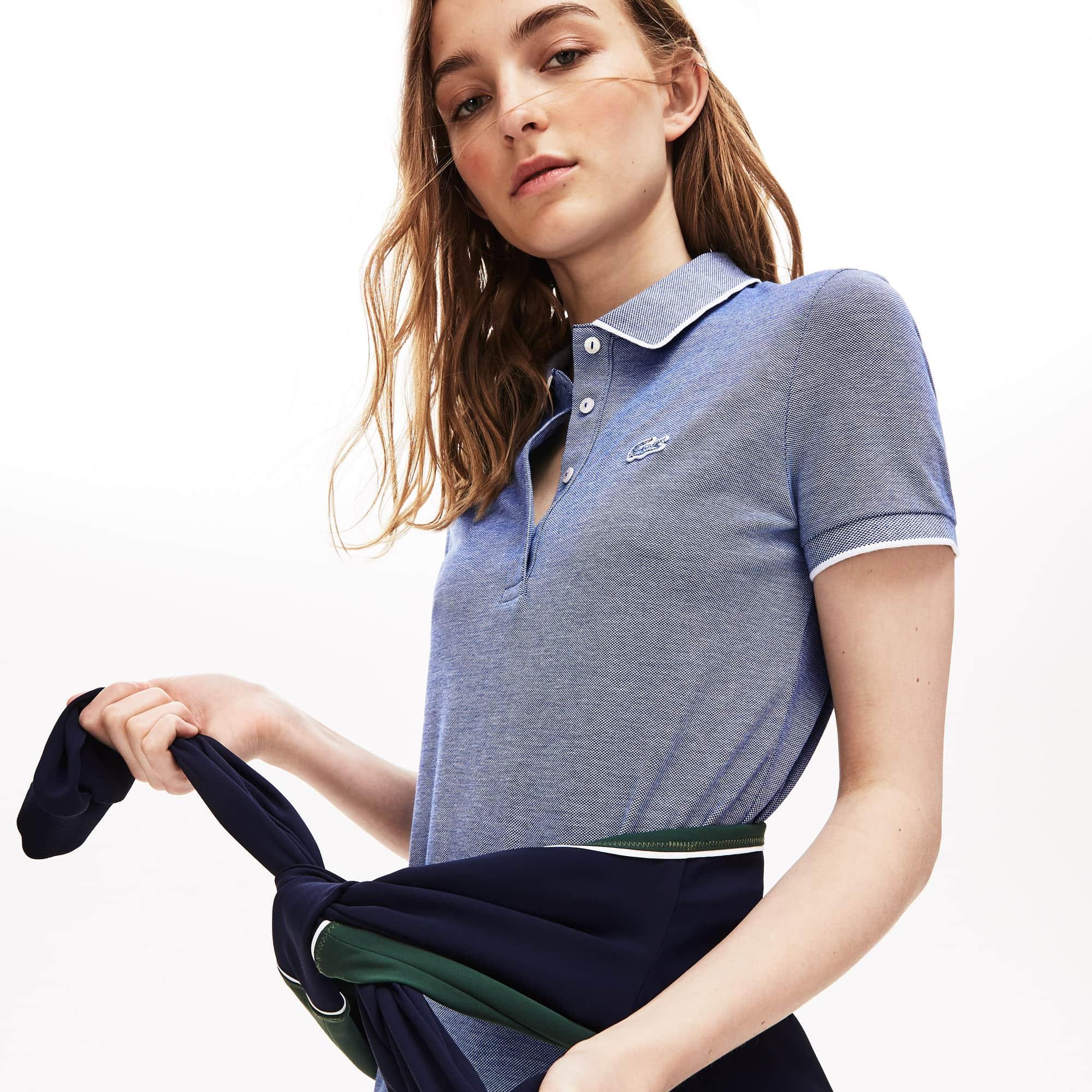 e96311348b Women's Slim Fit Pinstriped Stretch Mini Piqué Polo Dress