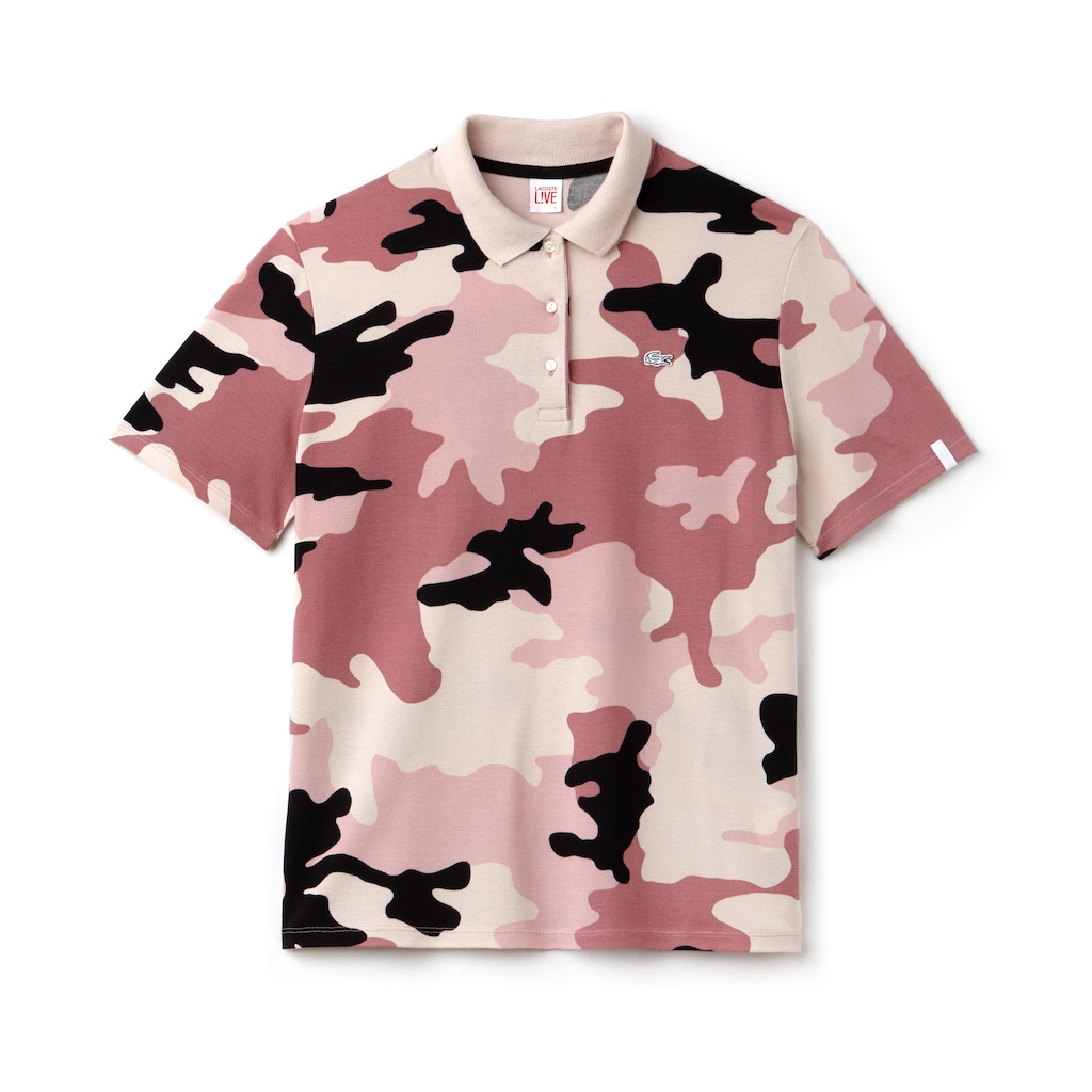 Womens Lacoste Live Loose Fit Camouflage Print Mini Piqu Polo