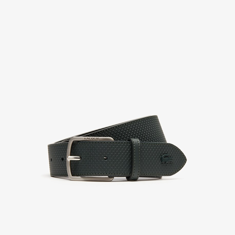 Men's Lacoste Engraved Buckle Texturised Leather Belt