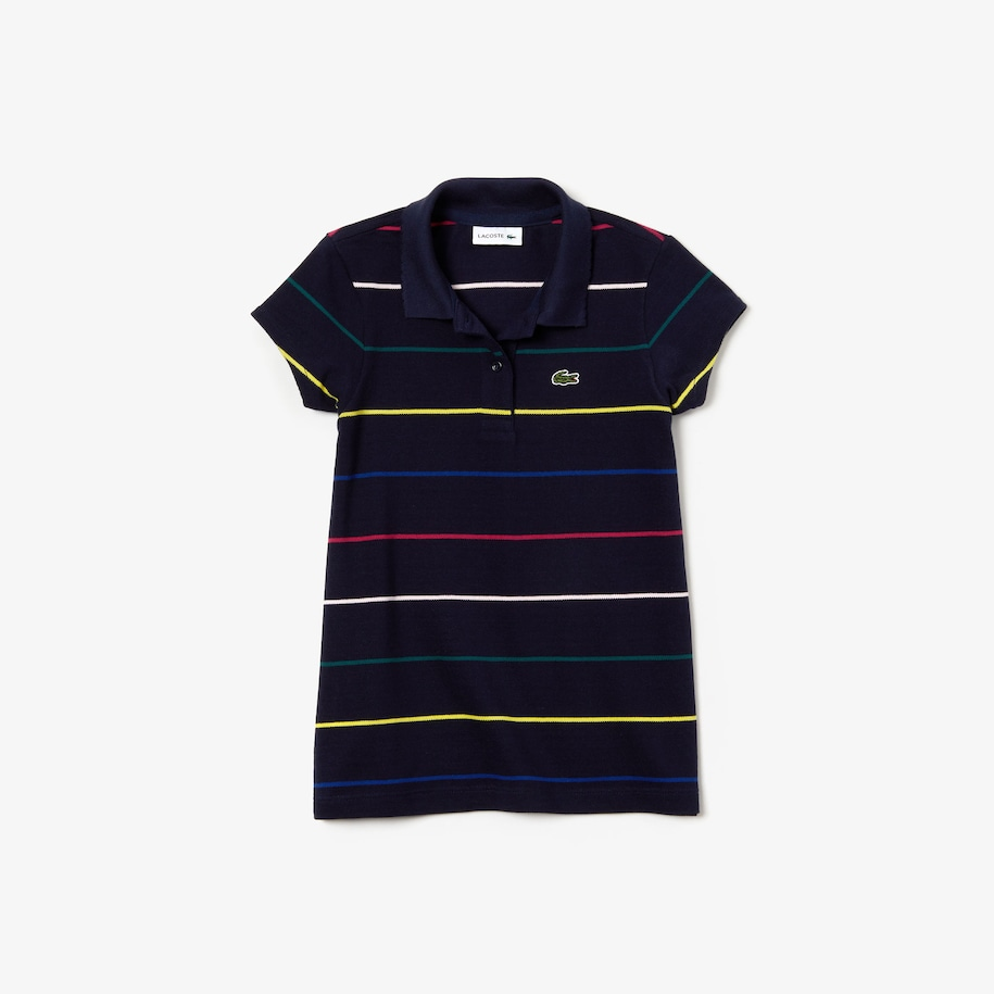 Girls' Lacoste Coloured Pinstripes Cotton Piqué Polo Shirt
