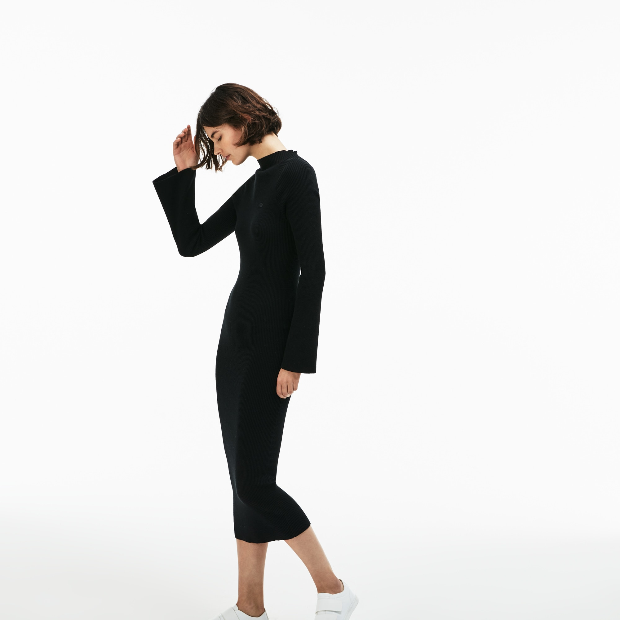 48ff49bc71 Women's Lacoste LIVE Close-Fitting Ribbed Cotton And Cashmere Dress
