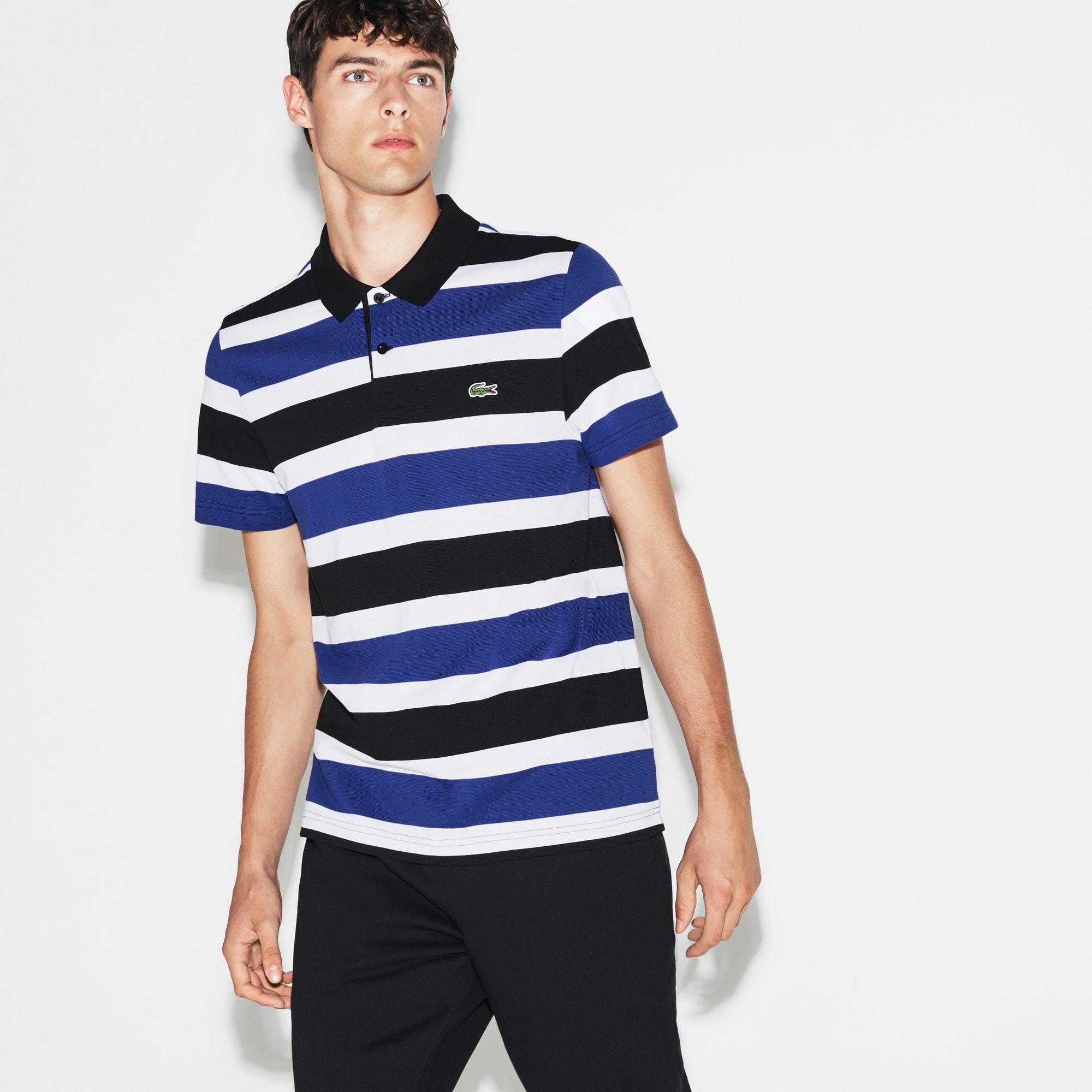 Men's Lacoste SPORT Tennis Ultra-Light Striped Knit Polo Shirt