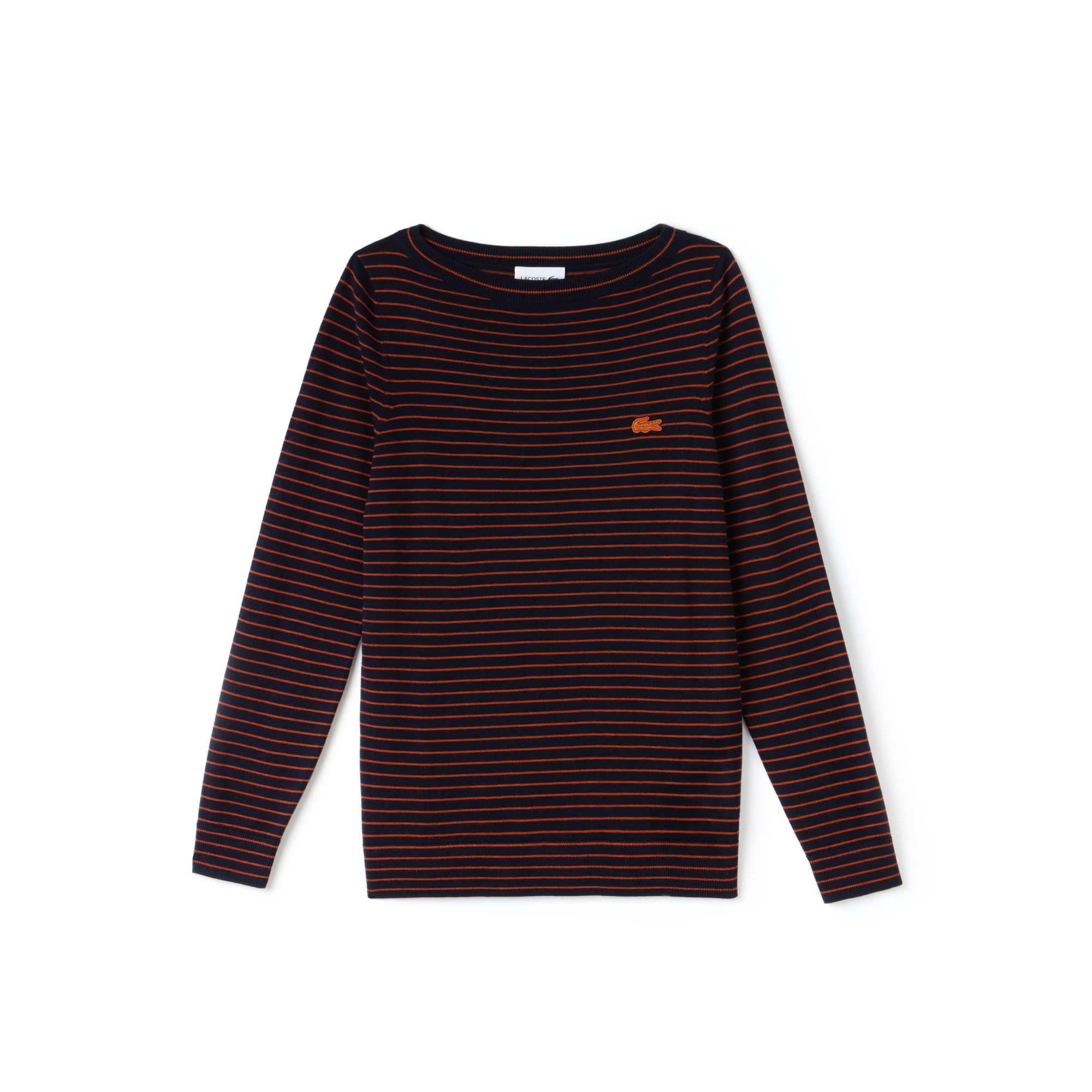 Women's Boat Neck Striped Wool Jersey Sweater