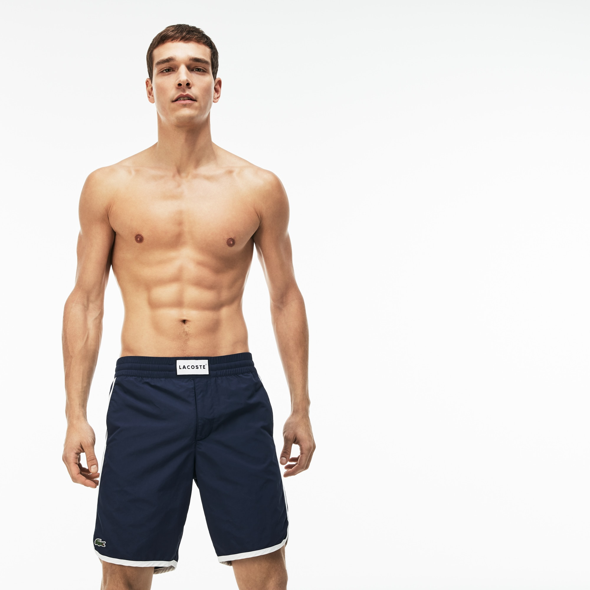 Men's Longboard Fit Piped Flowing Taffeta Swimming Trunks