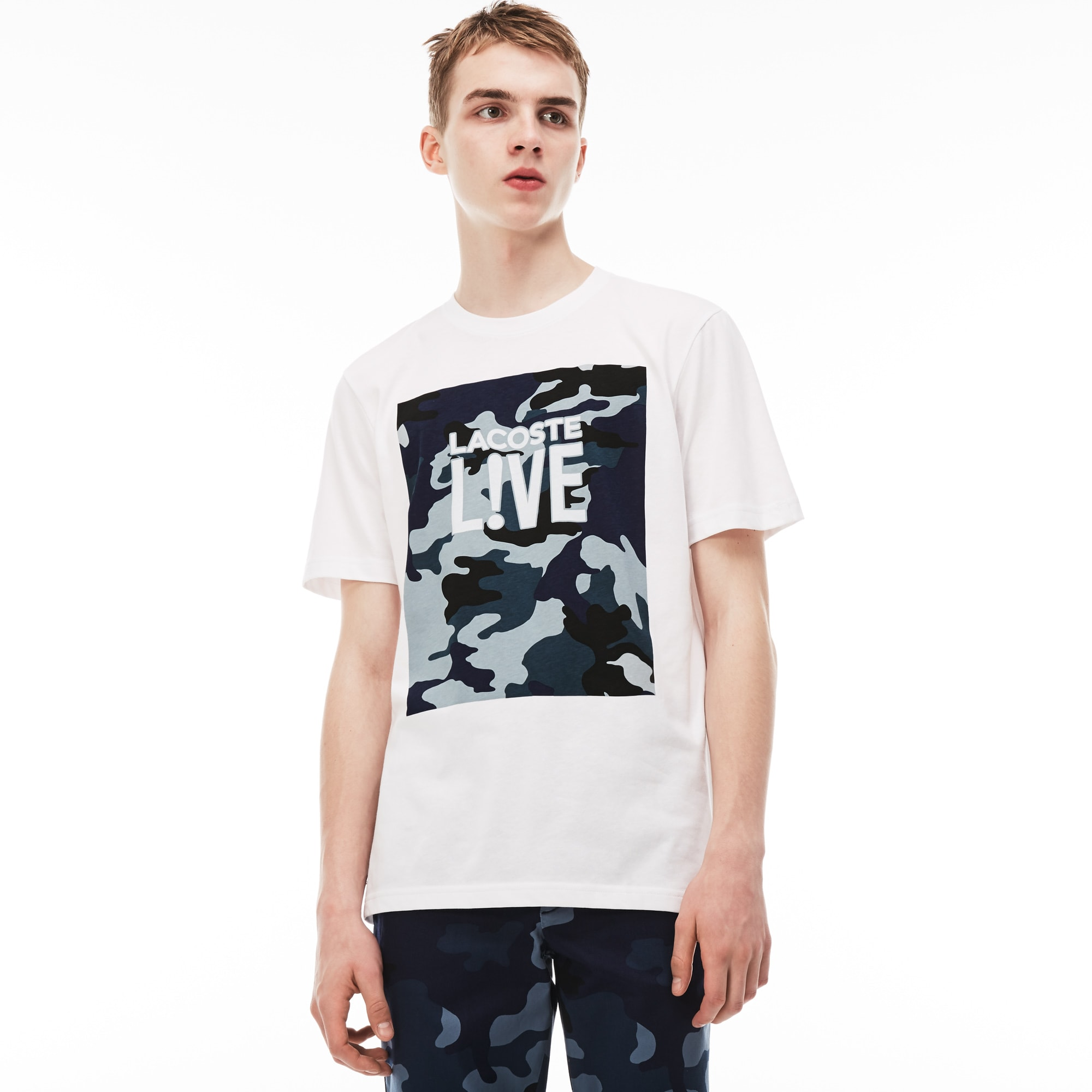 Men's Lacoste LIVE Crew Neck Print Design Jersey T-shirt. 305.00 AED 305.00  AED. Colour : WHITE/MILL BLUE-MULTICO