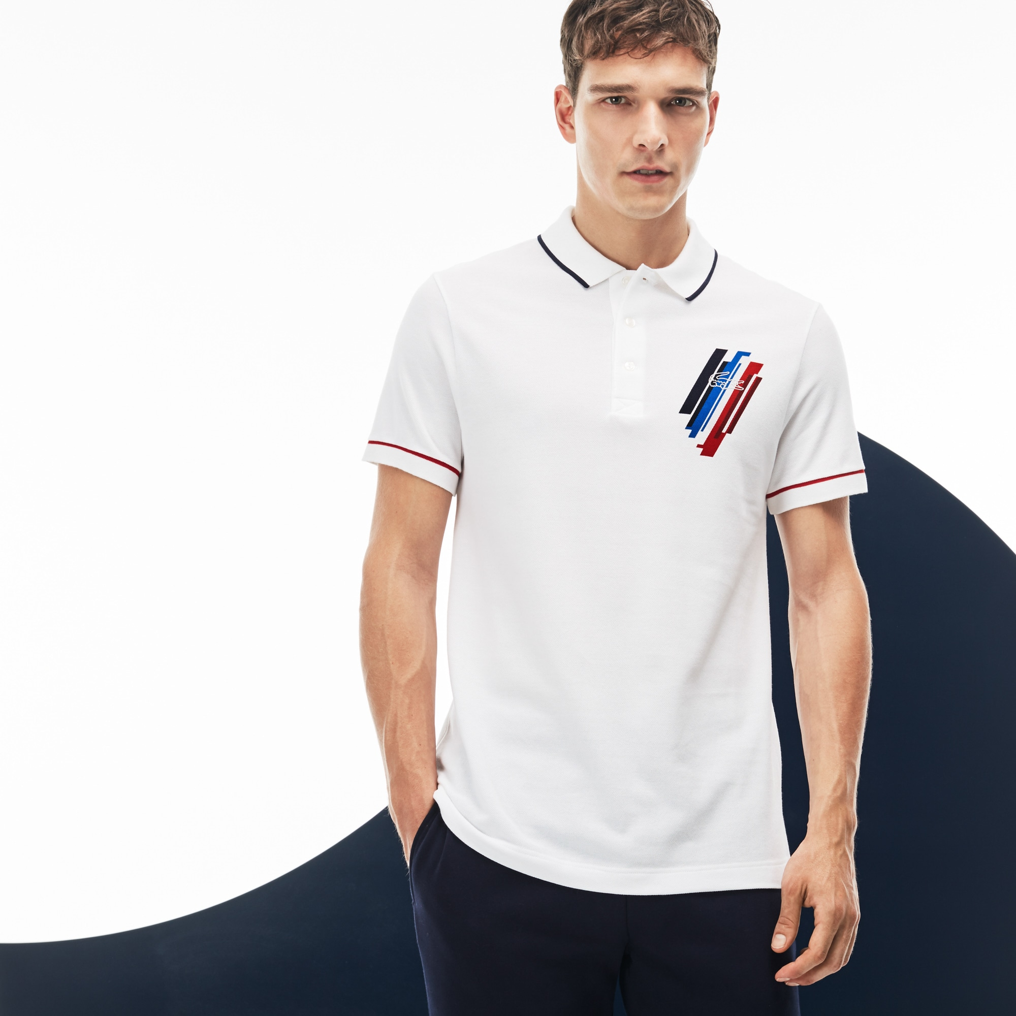 Men's Lacoste SPORT COLLECTION TRICOLORE Edition Design Two-Ply Petit Piqué Polo Shirt