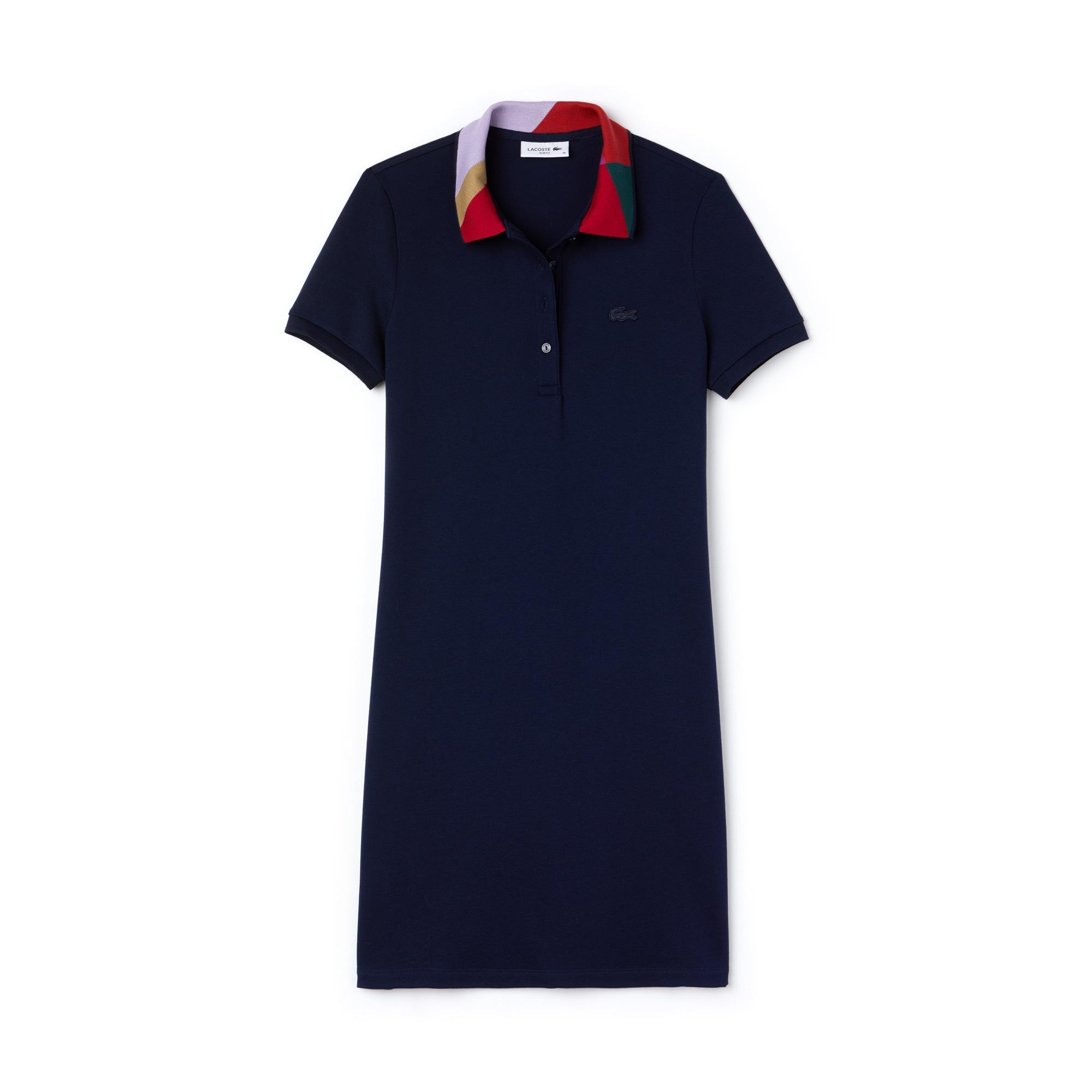 Women's Slim Fit Colorblock Jacquard Neck Mini Piqué Polo Dress
