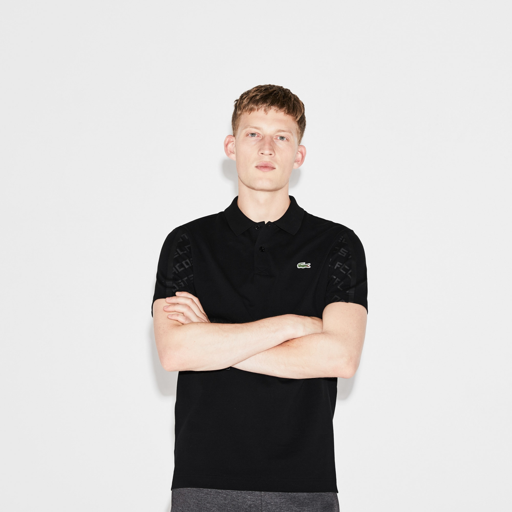 Men's Lacoste SPORT Tennis Print Sleeves Lightweight Knit Polo Shirt