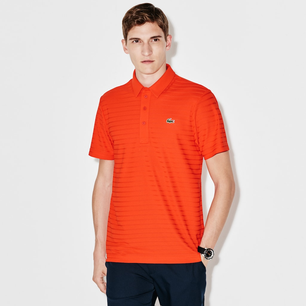 9b8714b95b22d Men s Lacoste SPORT Golf Striped Tech Jacquard Jersey Polo Shirt ...