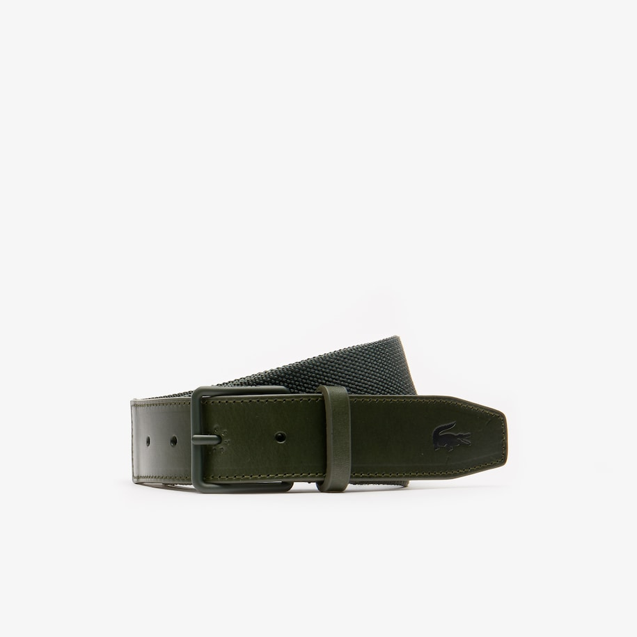 Men's Tongue Buckle Woven Fabric And Leather Belt