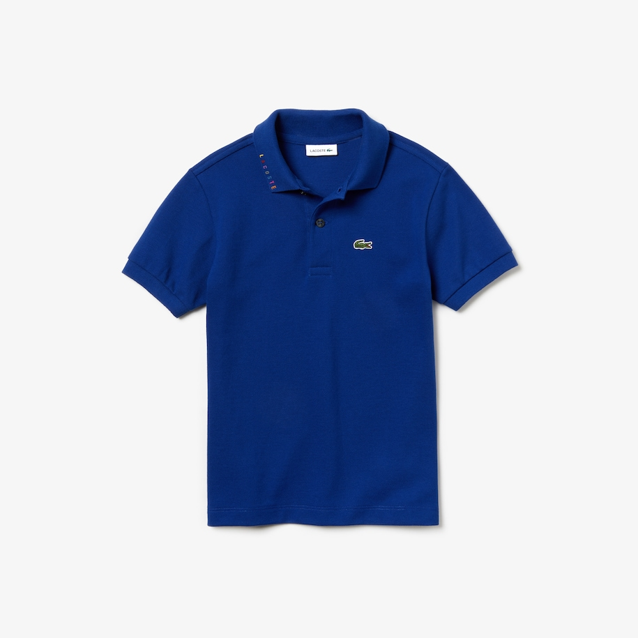 Boys' Lacoste Signature Embroidery Cotton Piqué Polo Shirt