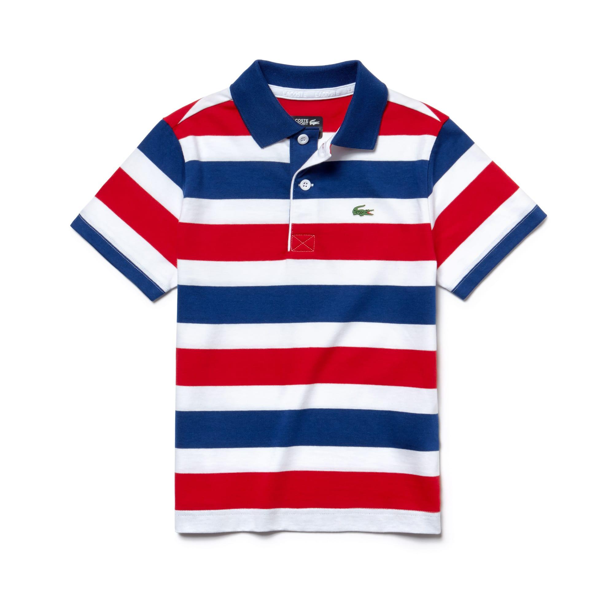 Boys' Lacoste SPORT Striped Cotton Jersey Tennis Polo Shirt