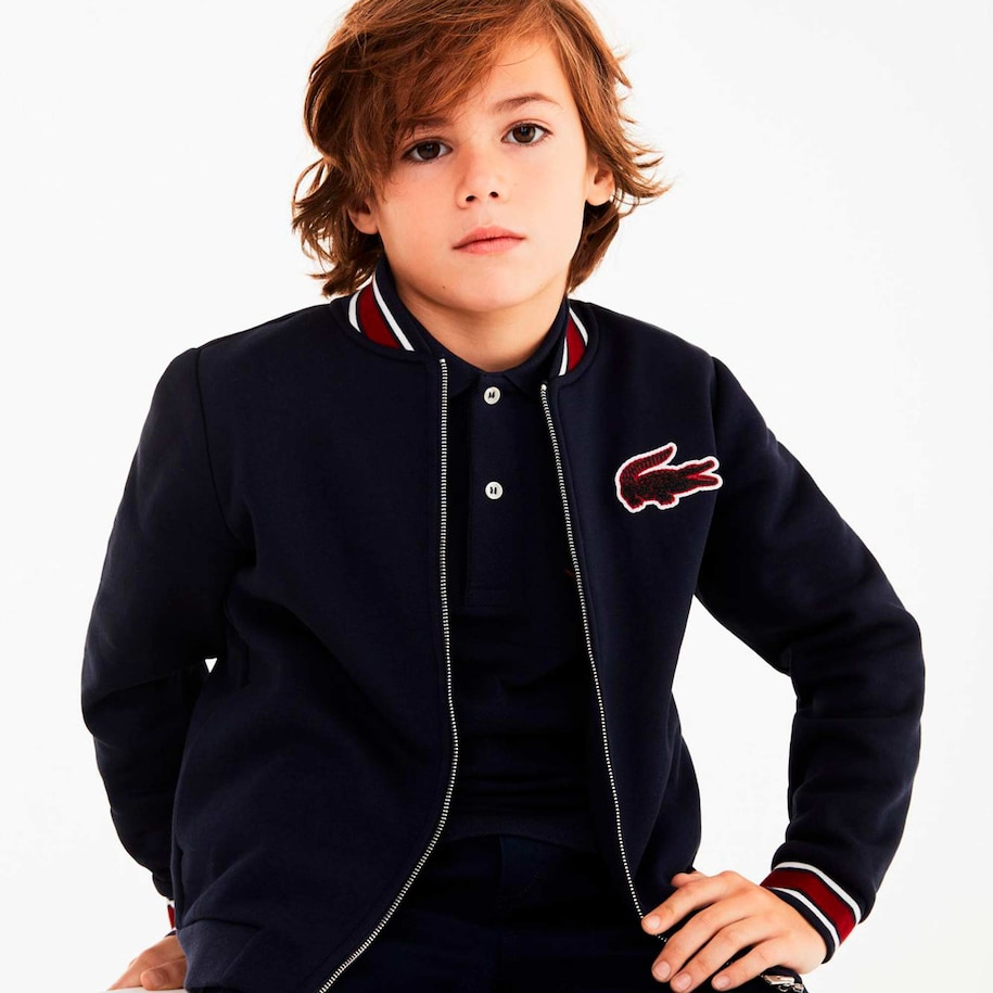 Boys' Contrast Stripes And Croc Patch Zip Teddy Jacket