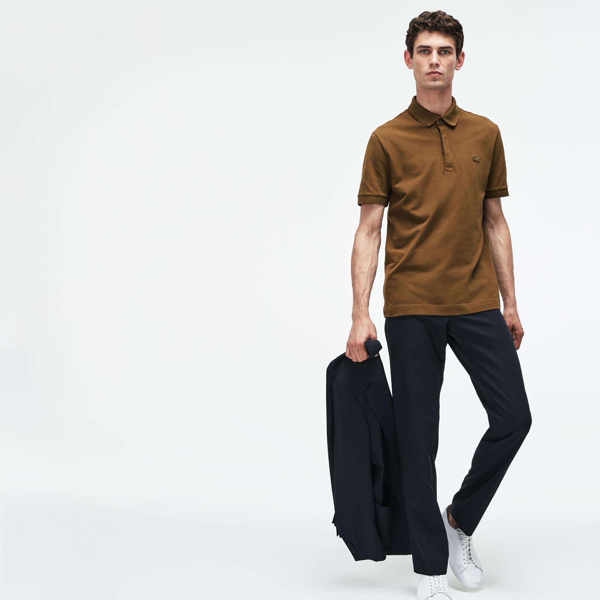 fe11579e42 Men's Lacoste Paris Polo Shirt Regular Fit Stretch Cotton Piqué