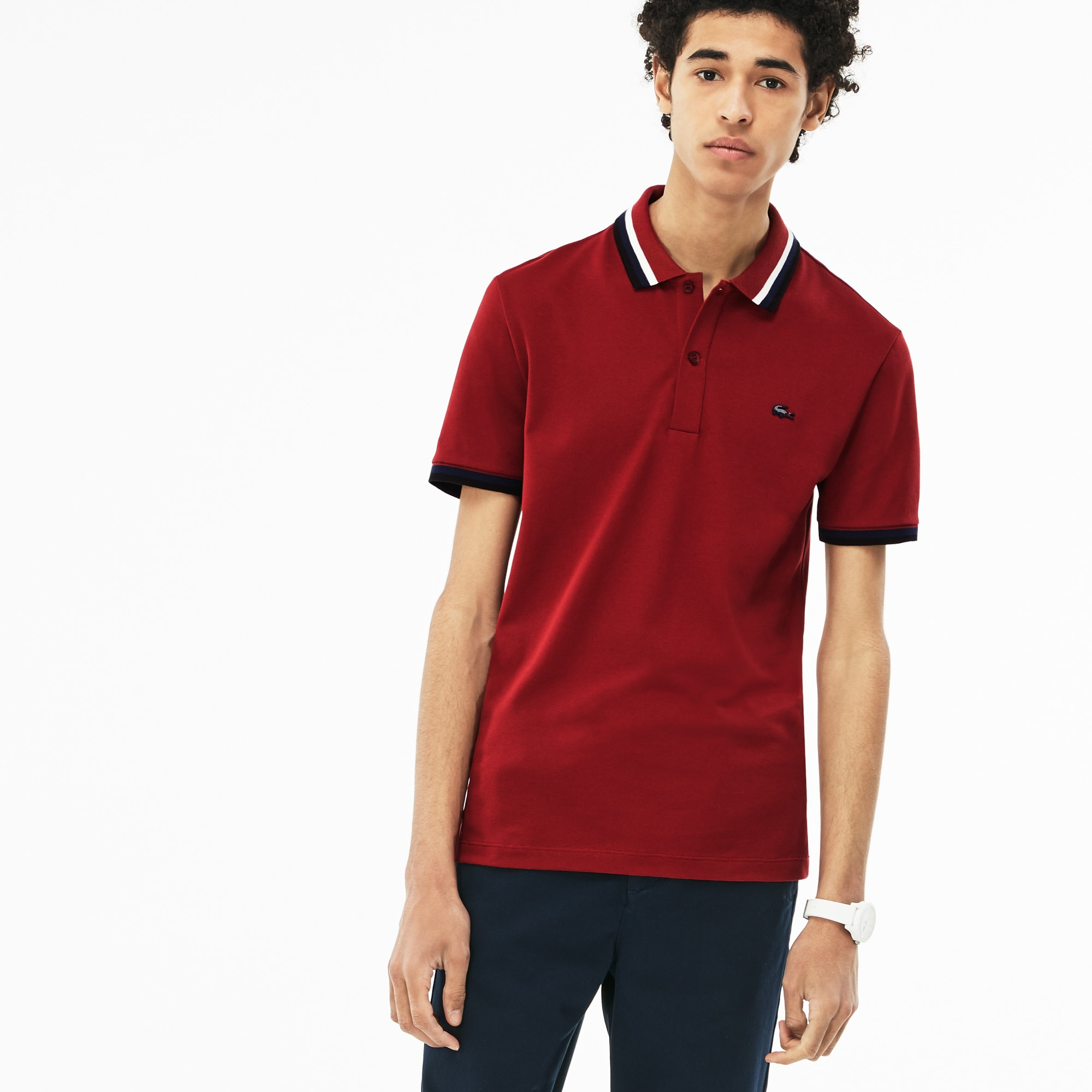 b56ecf6e8c9 Men s Lacoste Slim Fit Contrast Accents Stretch Pima Piqué Polo ...