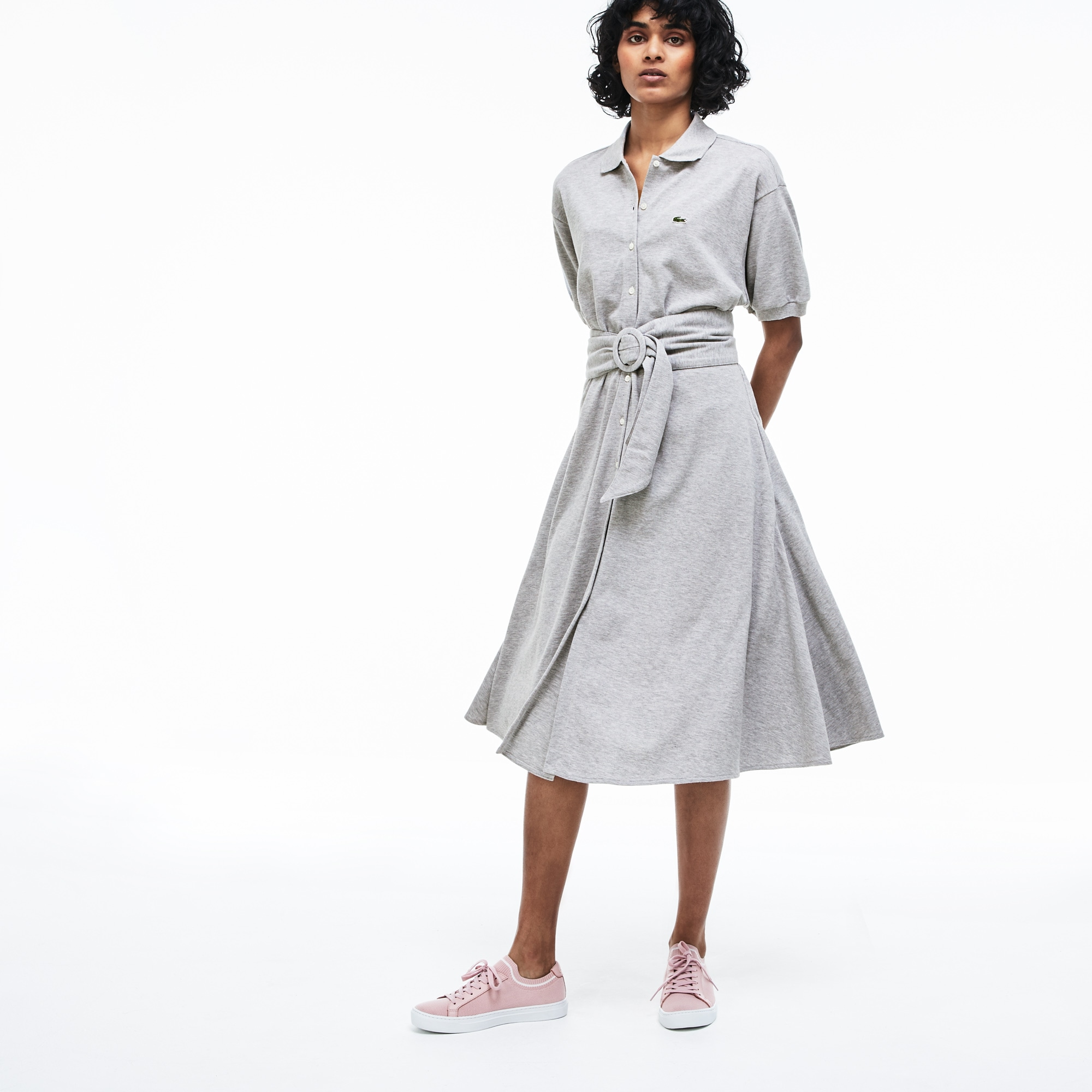f729fa674cd5 Women s Buttoned   Belted Soft Cotton Polo Shirt Dress