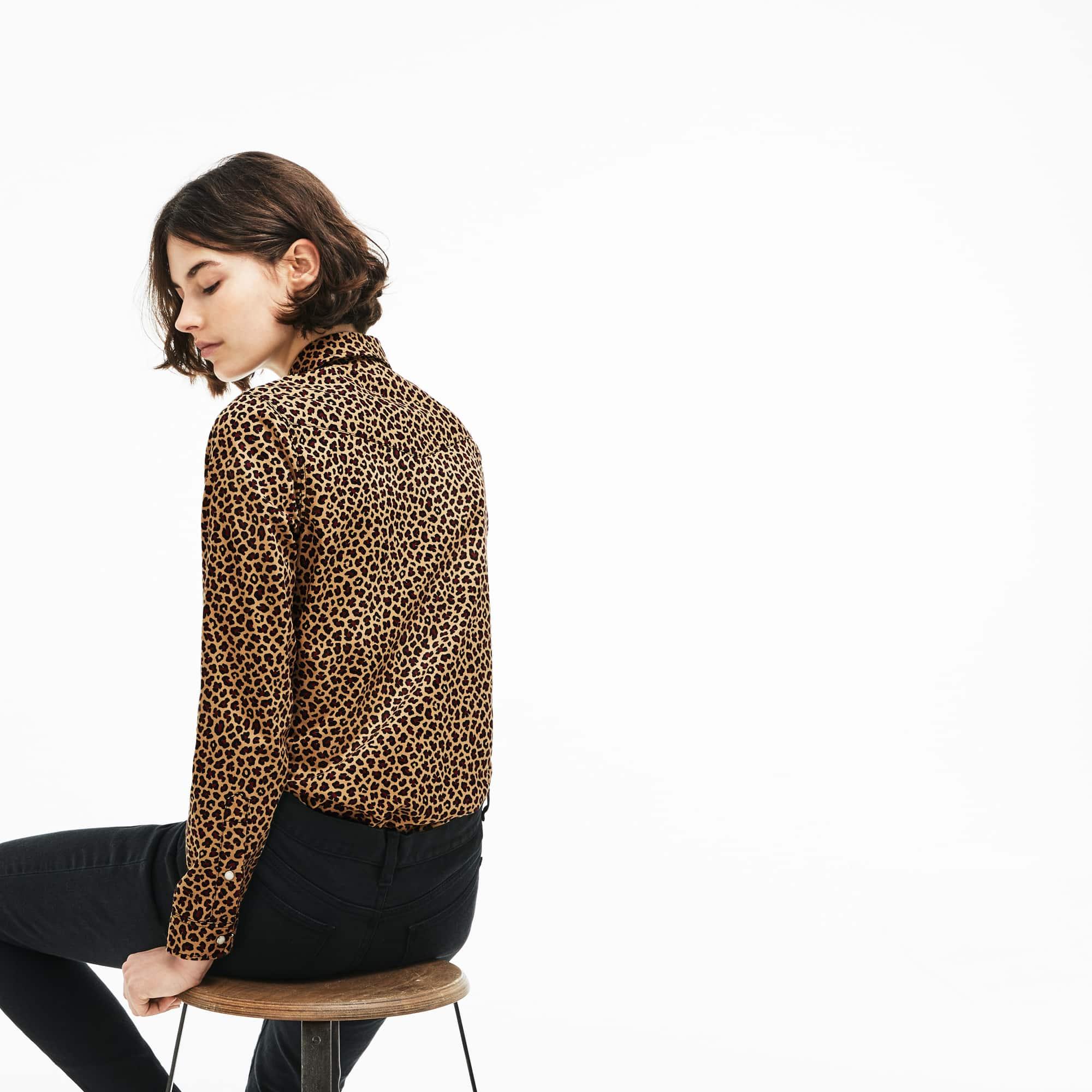 125ebe0525 Women's Lacoste LIVE Slim Fit Leopard Print Stretch Twill Shirt