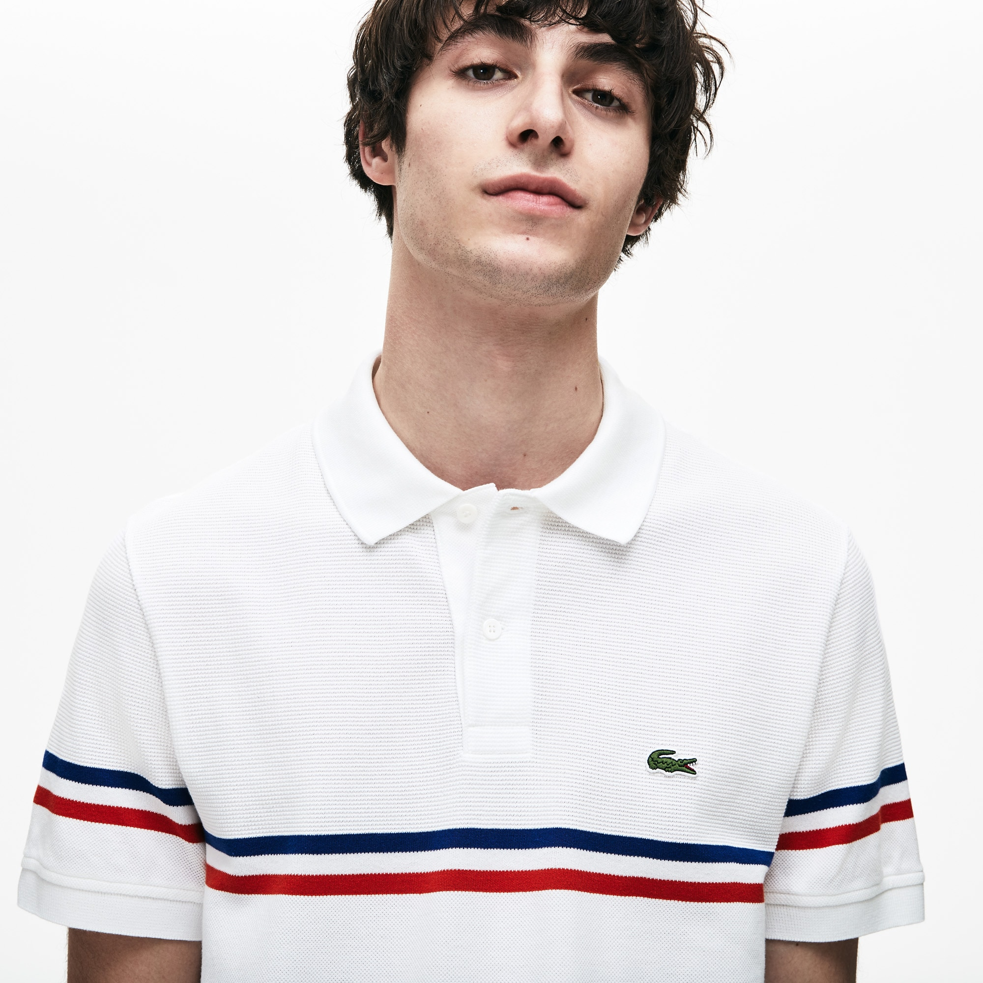1c8995ab Men's Lacoste Regular Fit MADE IN FRANCE Tricolour Striped Piqué Polo Shirt