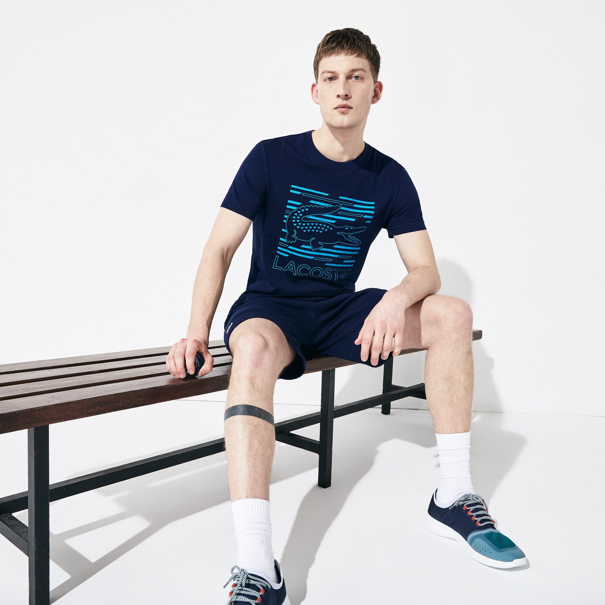 Men's Lacoste SPORT Crocodile Printed Breathable T-shirt