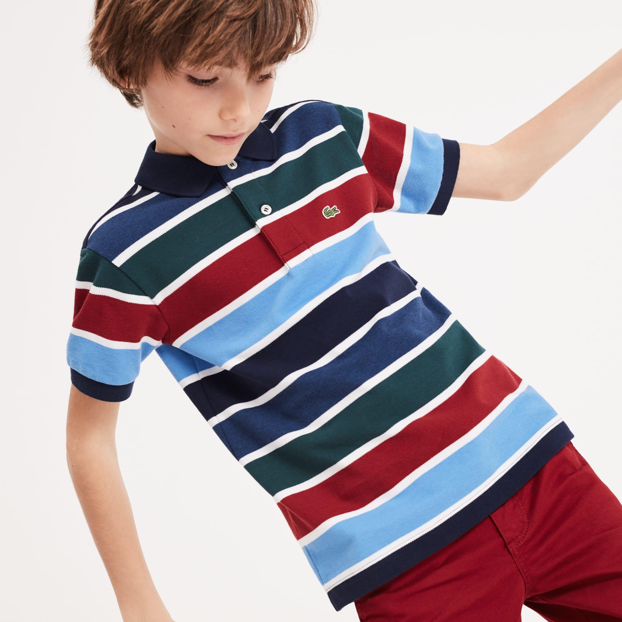 3aaa866e Boys' Lacoste Striped Cotton Piqué Polo Shirt | LACOSTE