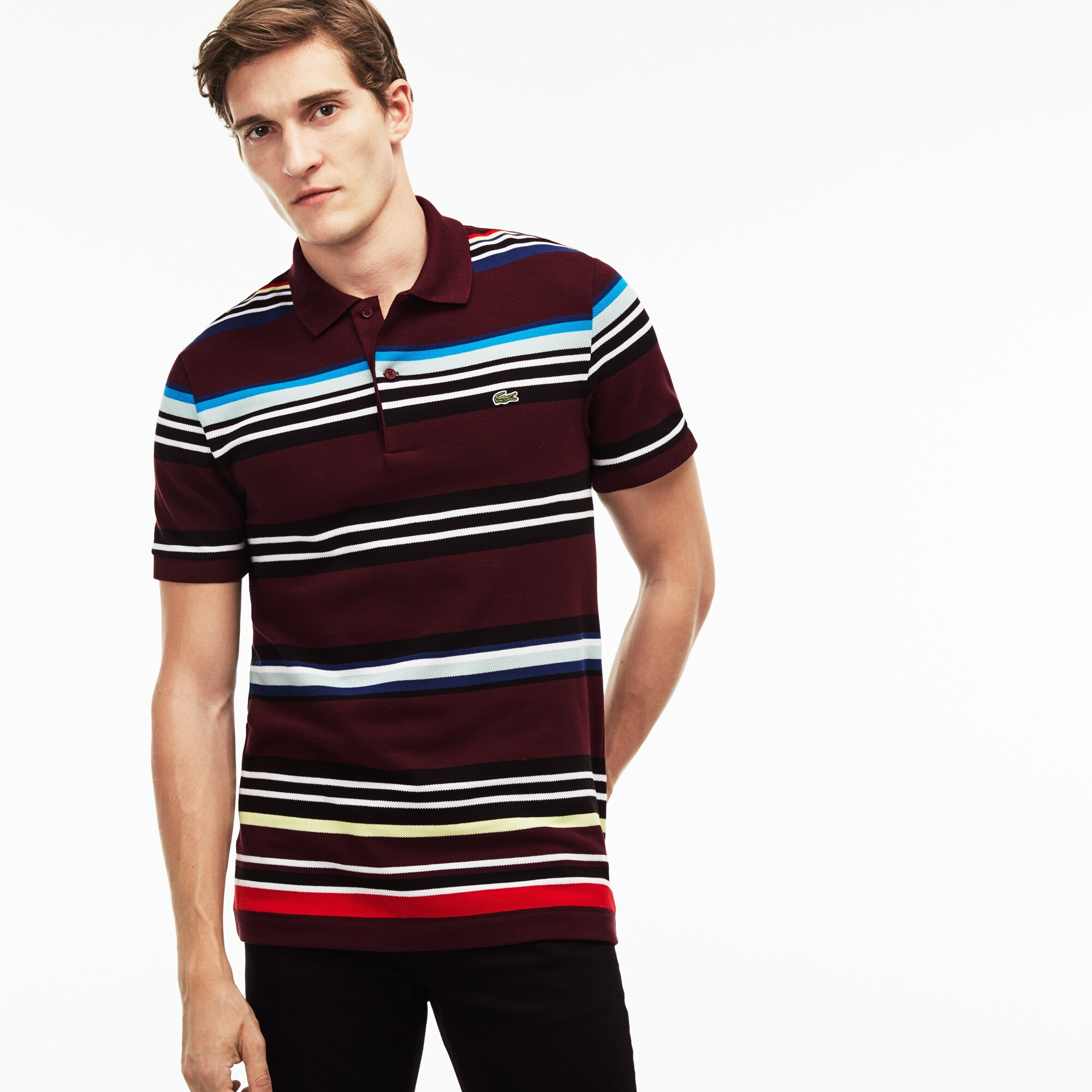 Men's Lacoste Regular Fit Flecked Colored Stripe Piqué Polo Shirt