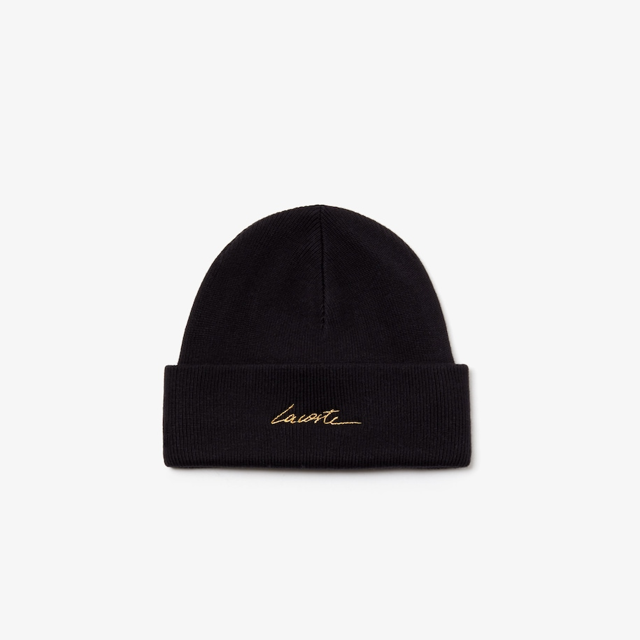 Unisex Lacoste LIVE Signature Embroidered Cashmere And Cotton Beanie