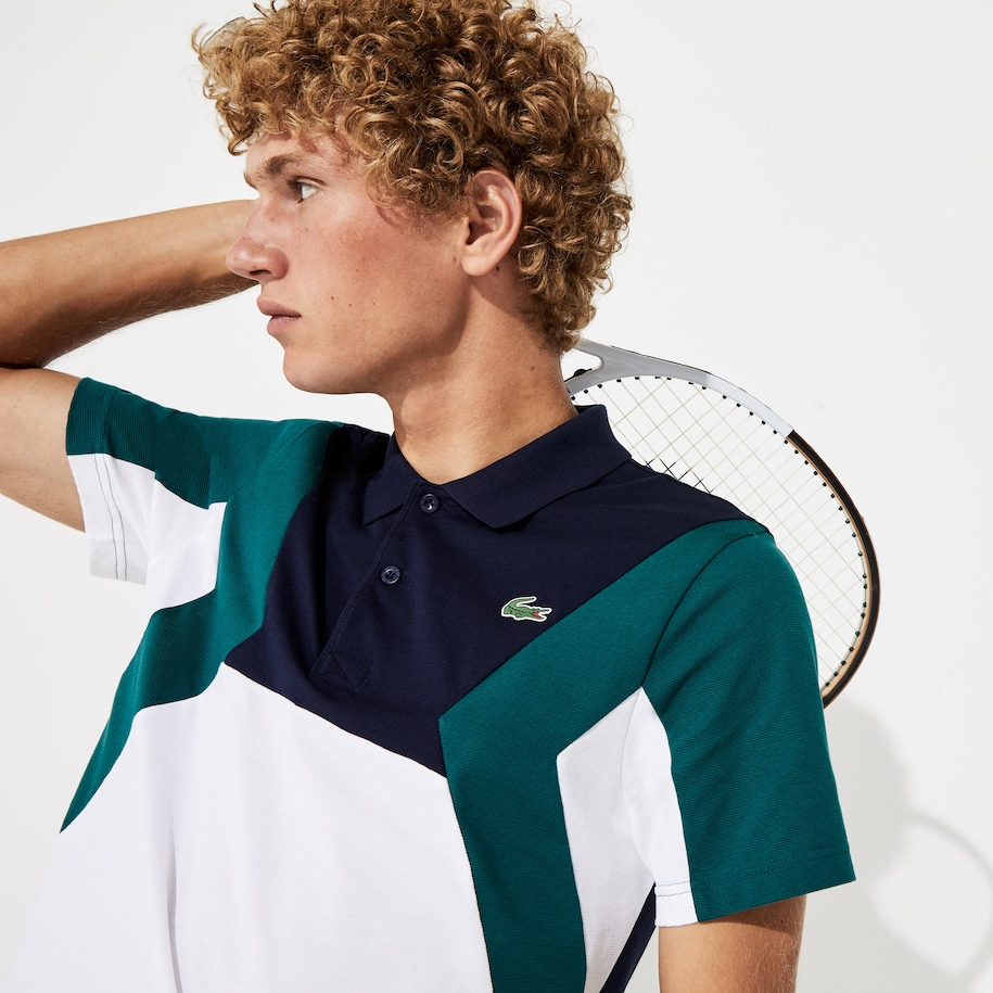 Men's Lacoste SPORT Ultra-Light Colourblock Cotton Tennis Polo Shirt