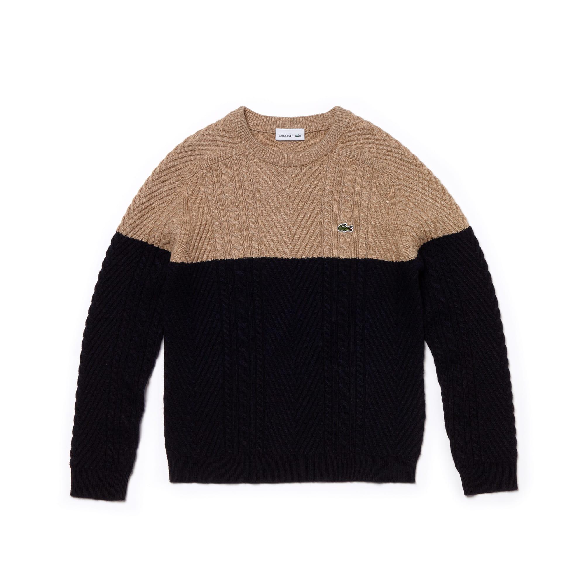 bd3bba01ae Boys' Crew Neck Cable Knit Colourblock Cotton Blend Sweater