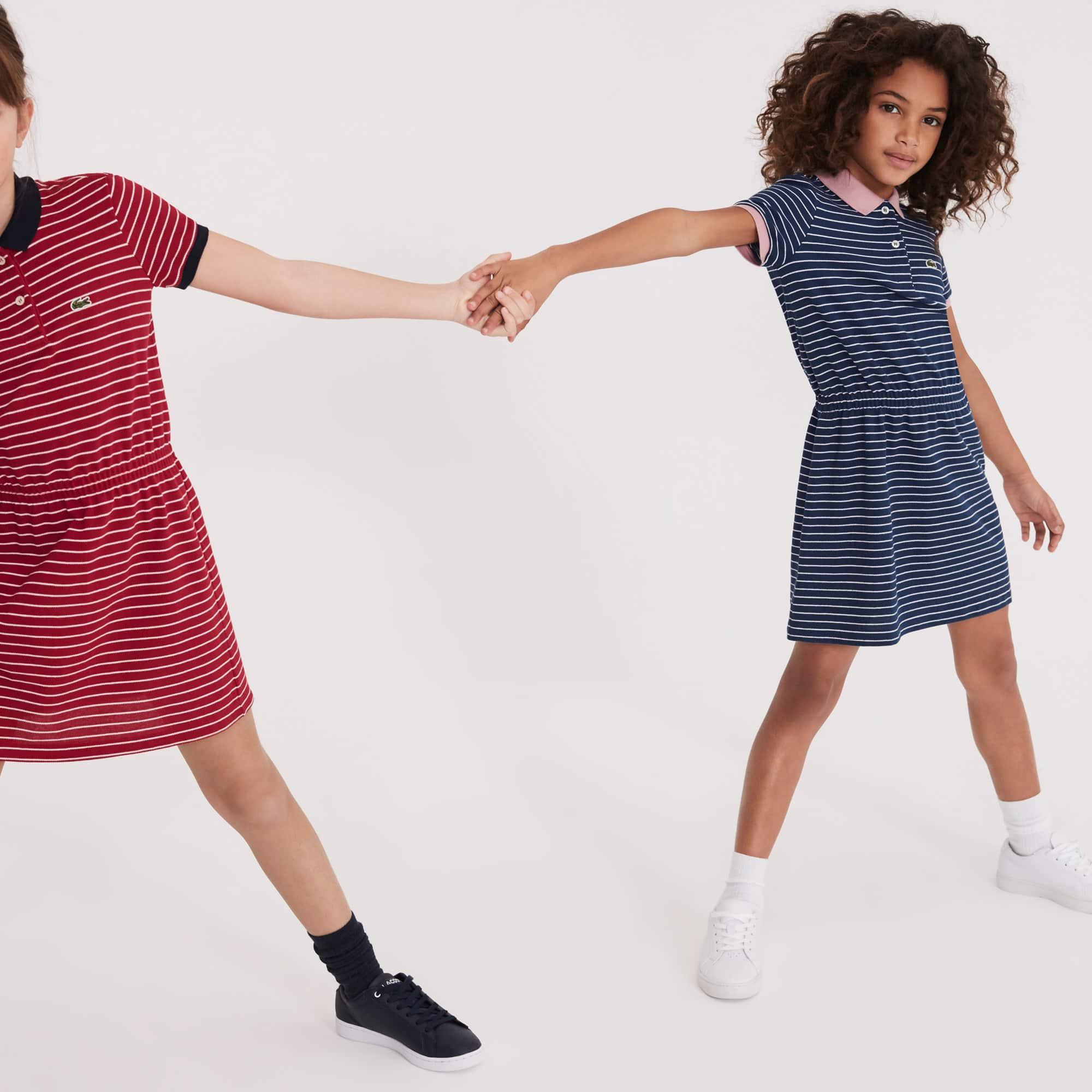 10aece4c9e387 Girls  Fitted Striped Cotton Piqué Polo Dress