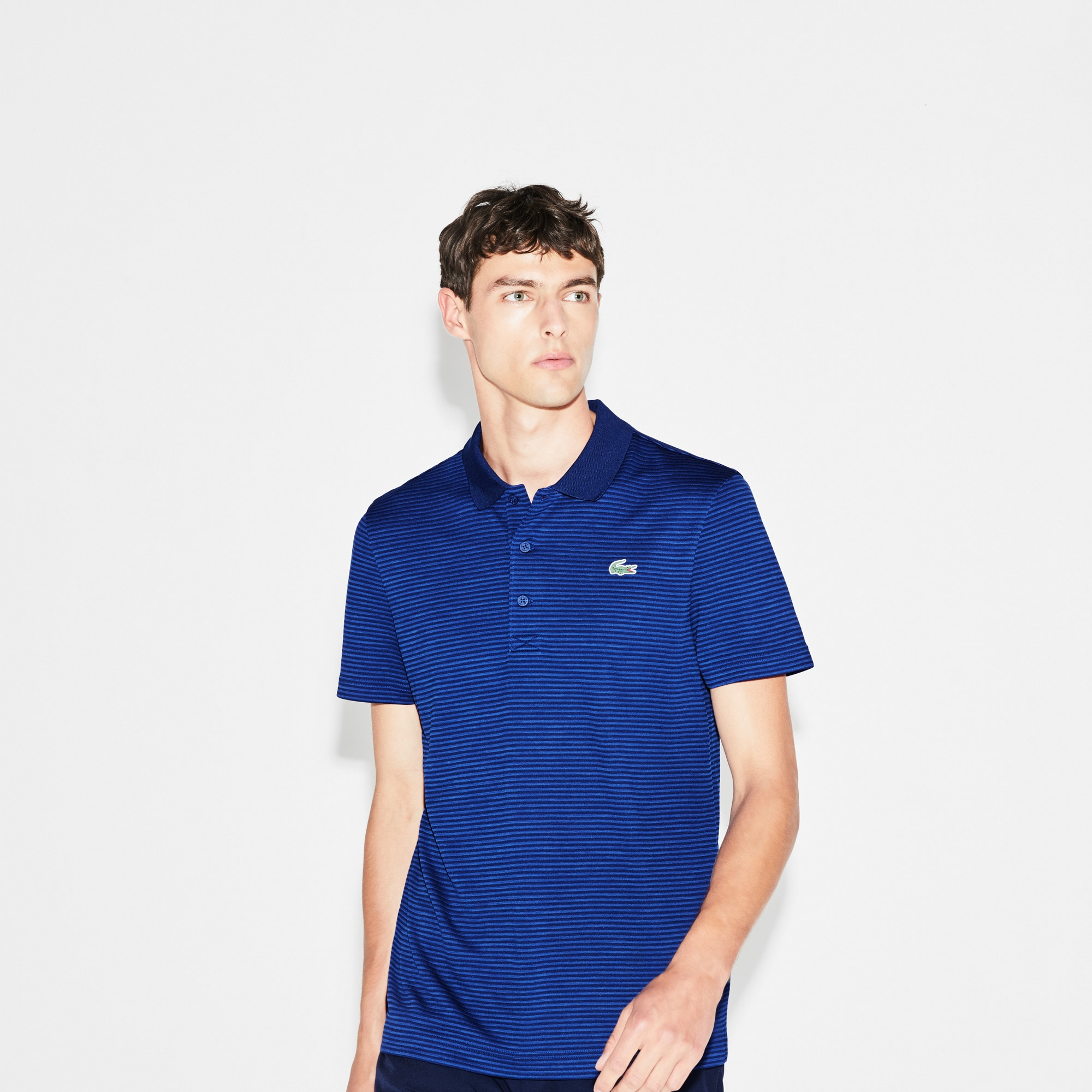 Lacoste Light Blue Striped Navy Polo Size 6 Men Casual Button-down Shirts