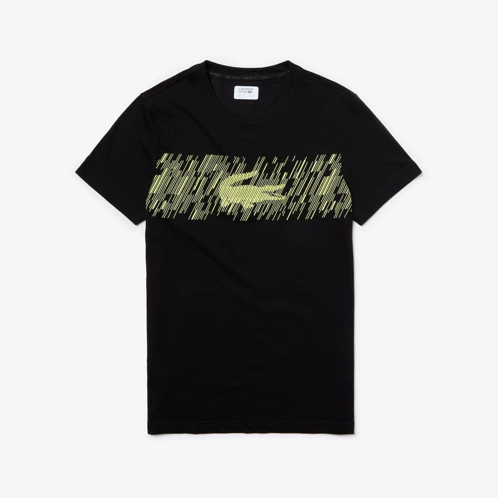 fe4a728bc7d Lacoste T shirt White Source · Men s Lacoste SPORT Crew Neck Croc Print  Tech Jersey Tennis T shirt