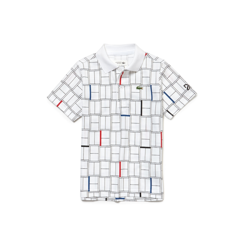 cb884a53 Boys' LACOSTE SPORT NOVAK DJOKOVIC COLLECTION Print Light Cotton Polo Shirt  | LACOSTE