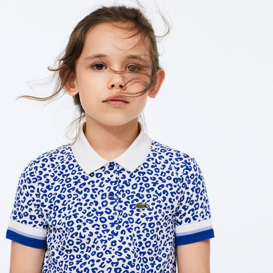 Girl's Leopard Print Lacoste Polo Shirt