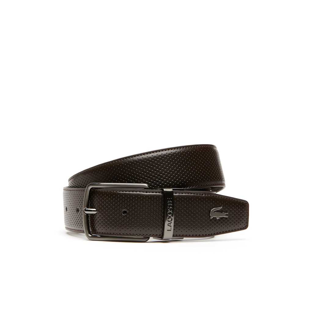 a6edb6deb9eb07 Men s Lacoste Engraved Buckle Reversible Punched Leather Belt