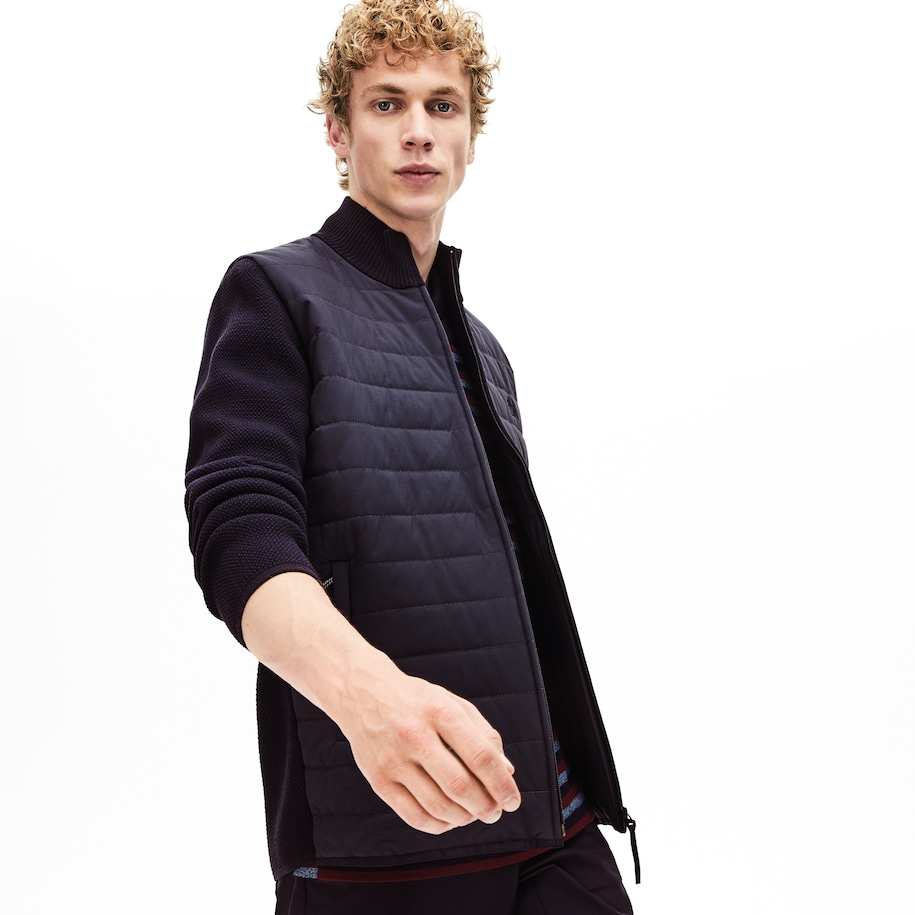Men's Lacoste Motion Bi-Material Quilted Hybrid Zip Cardigan