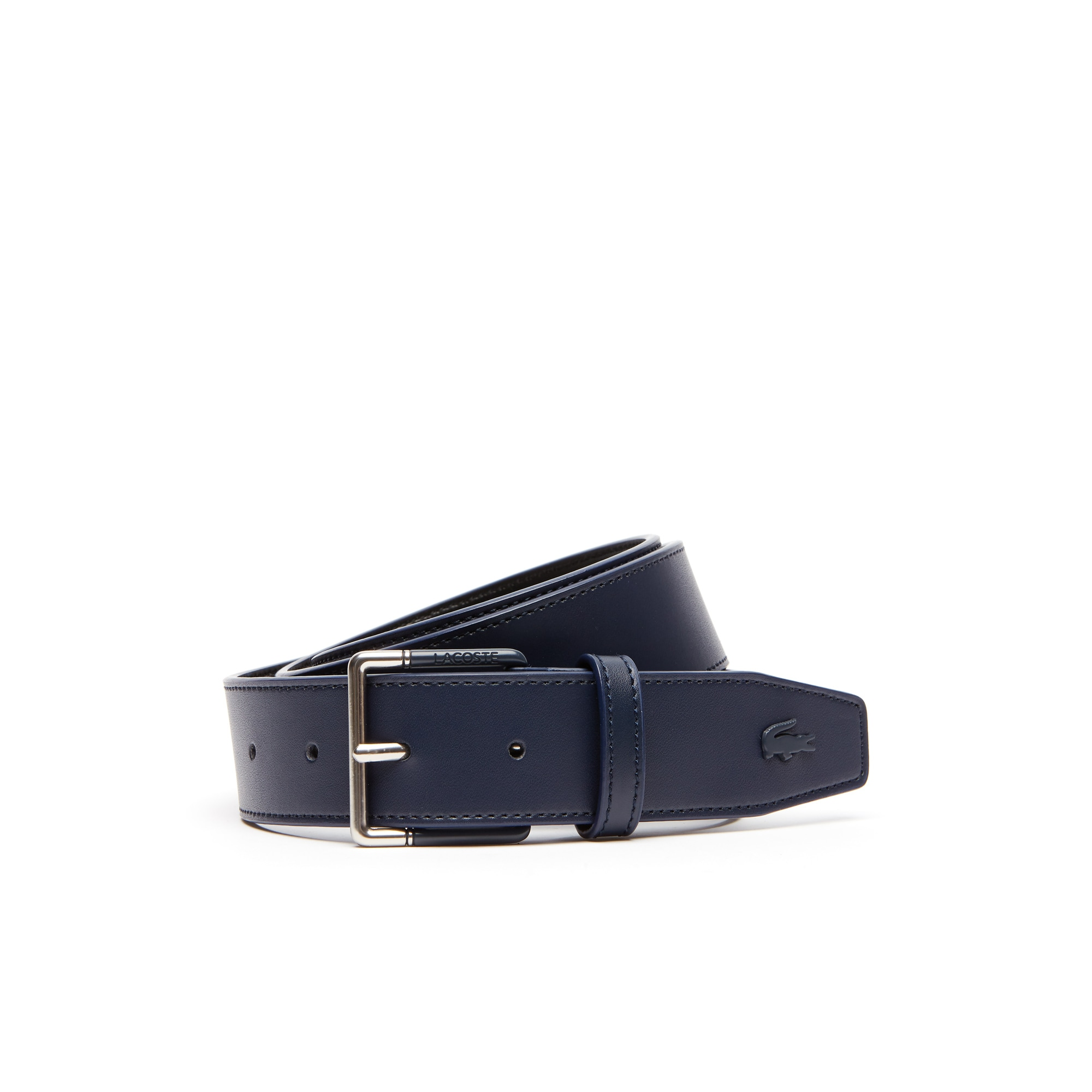 c5fa8ae6f3 Men's Lacoste Engraved Tongue Buckle Leather Belt