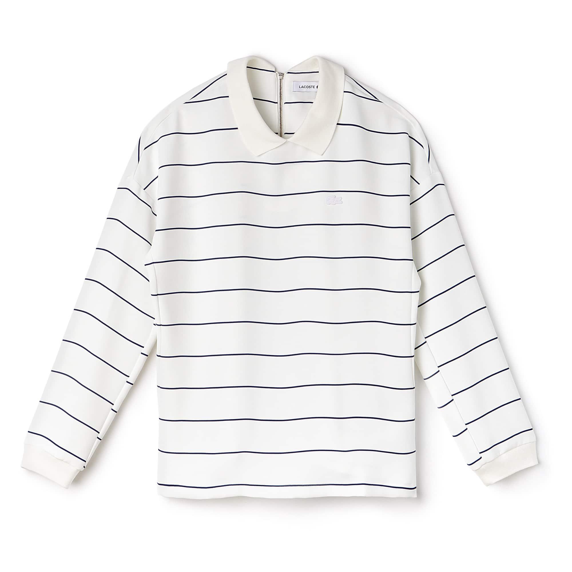 Women's Polo Collar Back Zip Striped Crepe Shirt