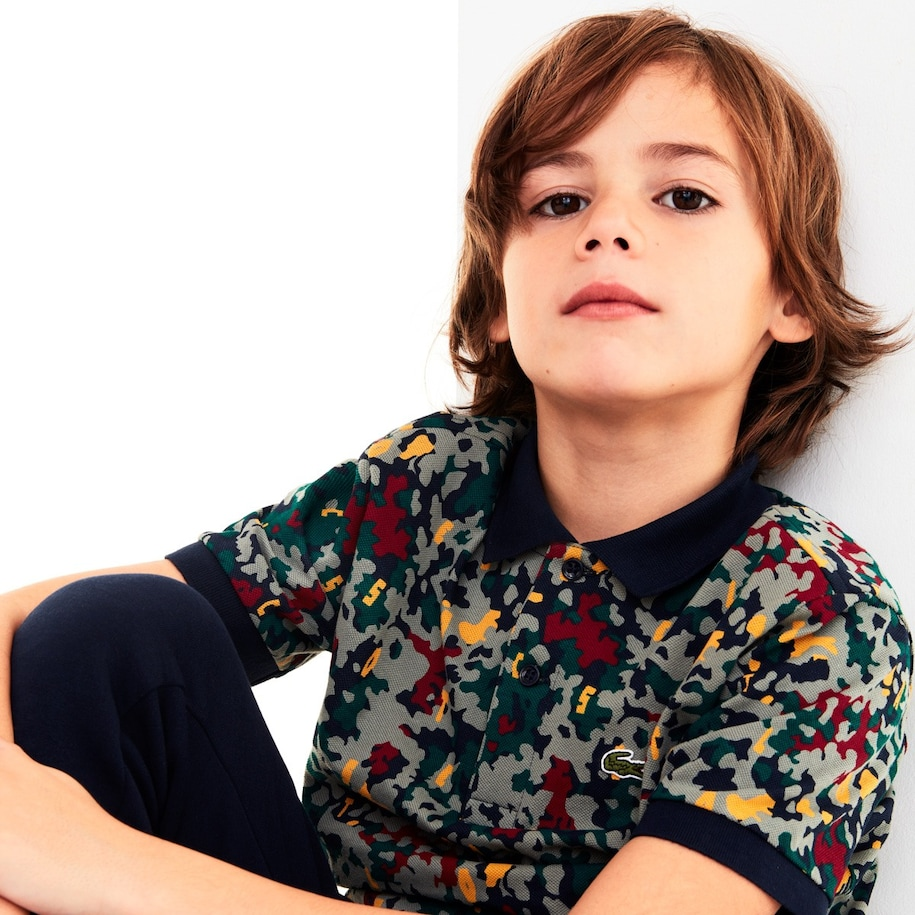 Boys' Lacoste Camouflage Print Cotton Piqué Polo Shirt