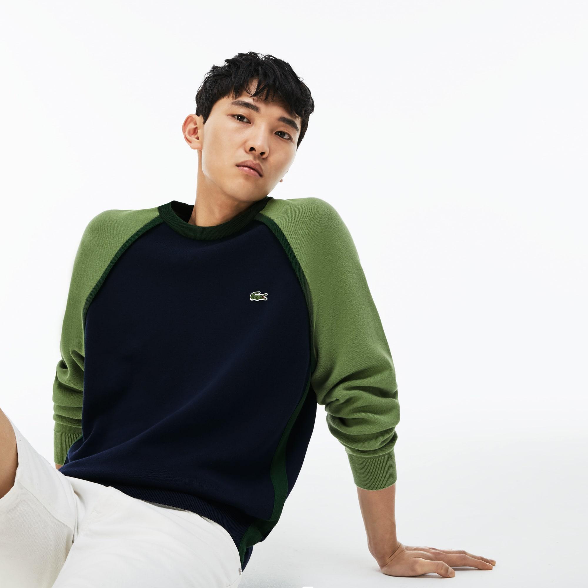 Men's Made in France Crew Neck Colorblock Interlock Sweater