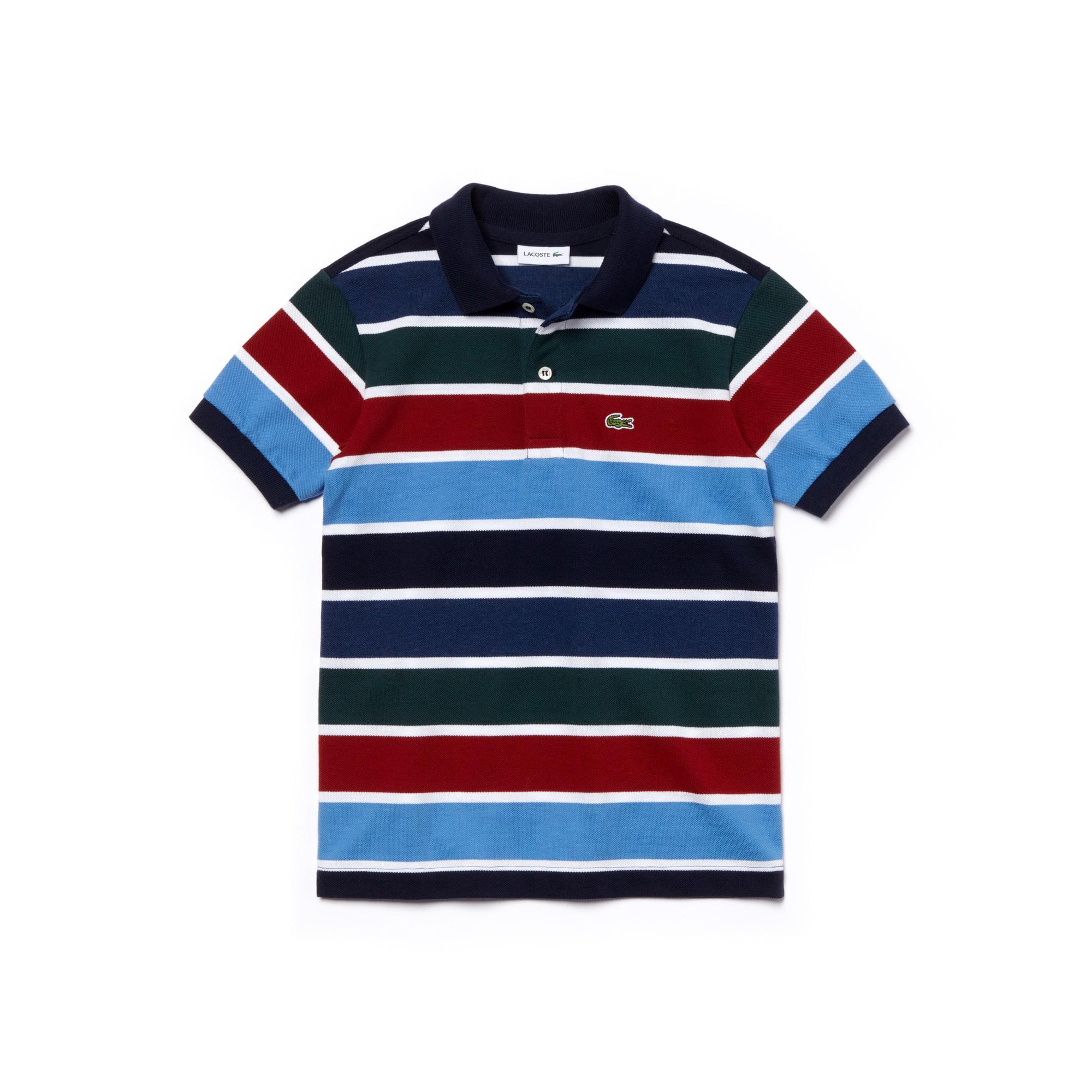 2edae247f Boys' Lacoste Striped Cotton Piqué Polo Shirt | LACOSTE