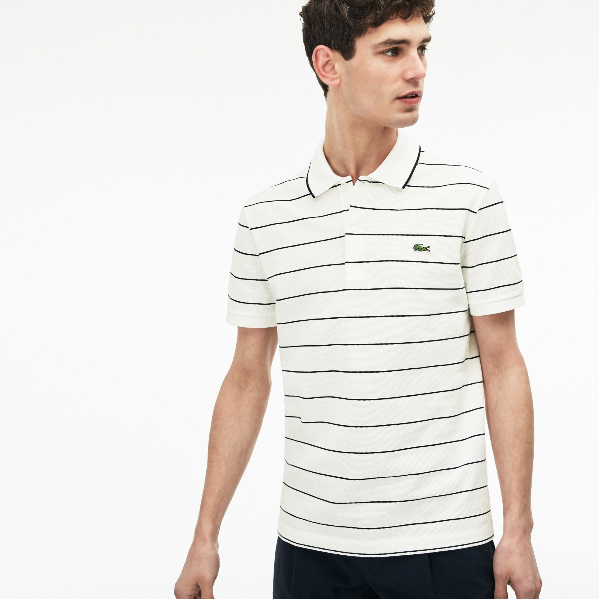 a2bba8102e Men's Lacoste Slim Fit Piped Striped Square Knit And Jersey Polo Shirt