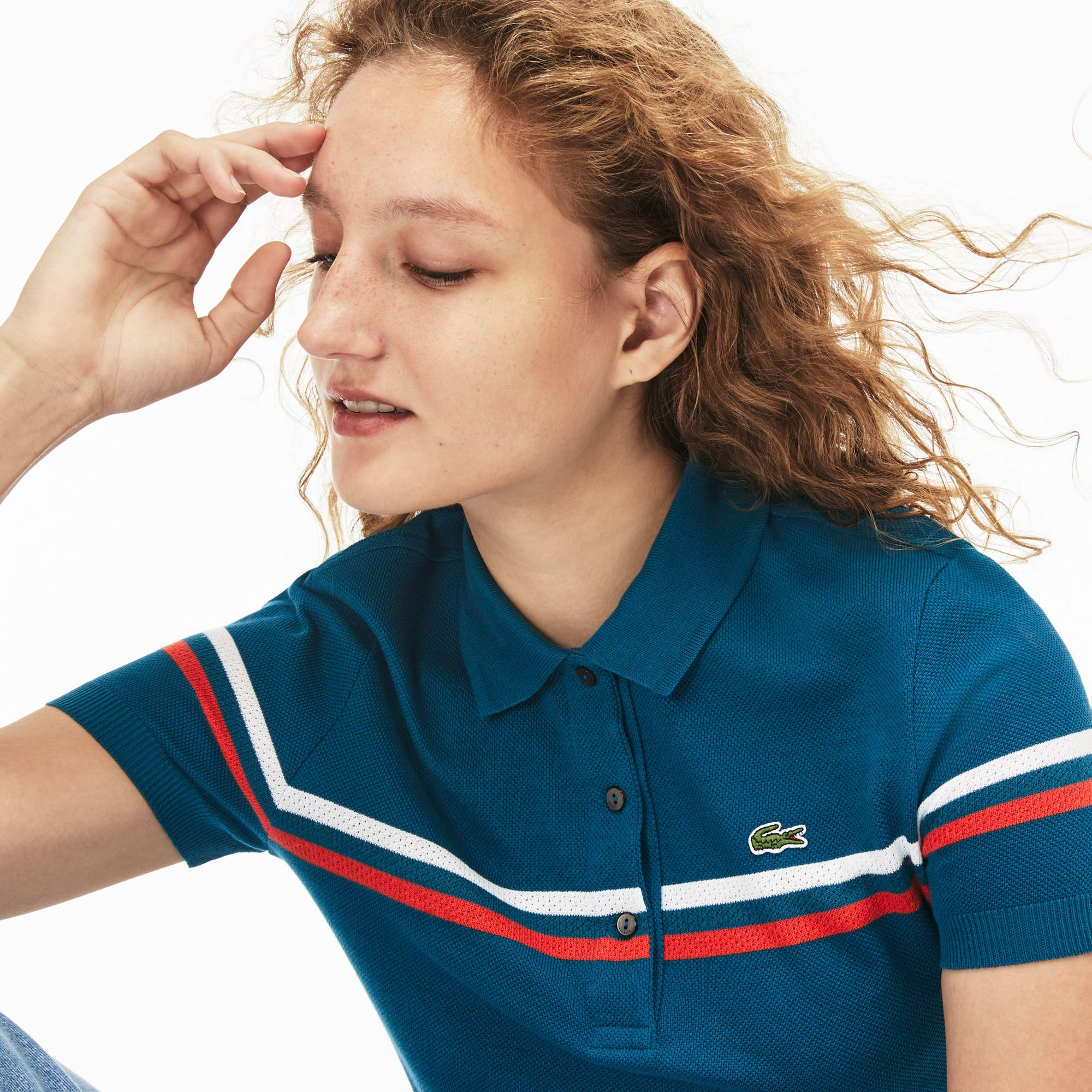 Women's Lacoste Slim Fit MADE IN FRANCE Tricolour Striped Cotton Polo Shirt