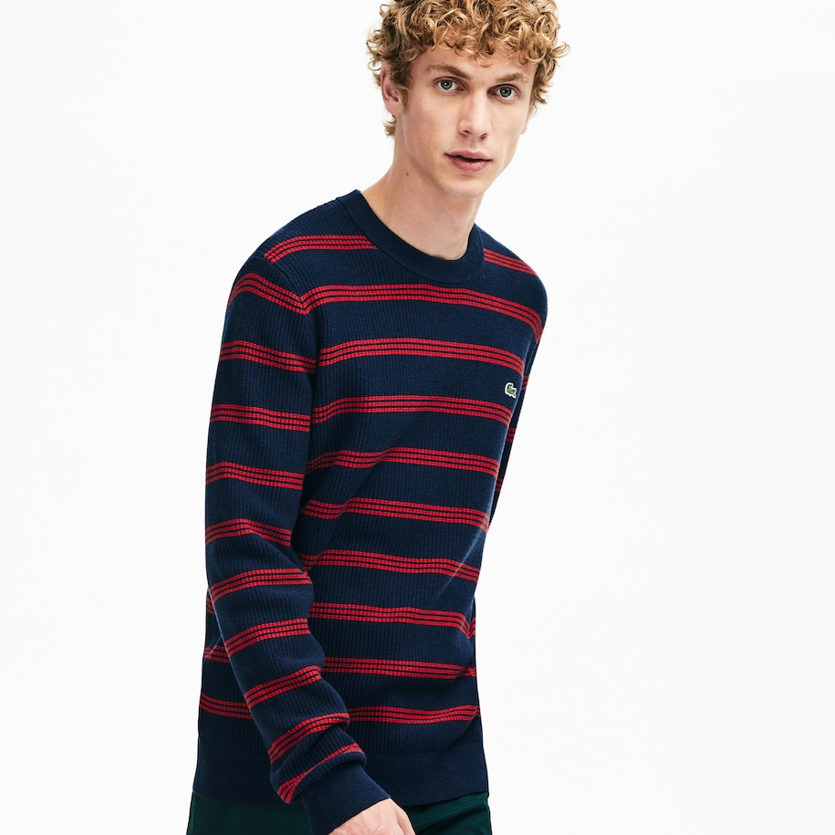 Men's Crew Neck Pinstriped Wool and Cotton Sweater