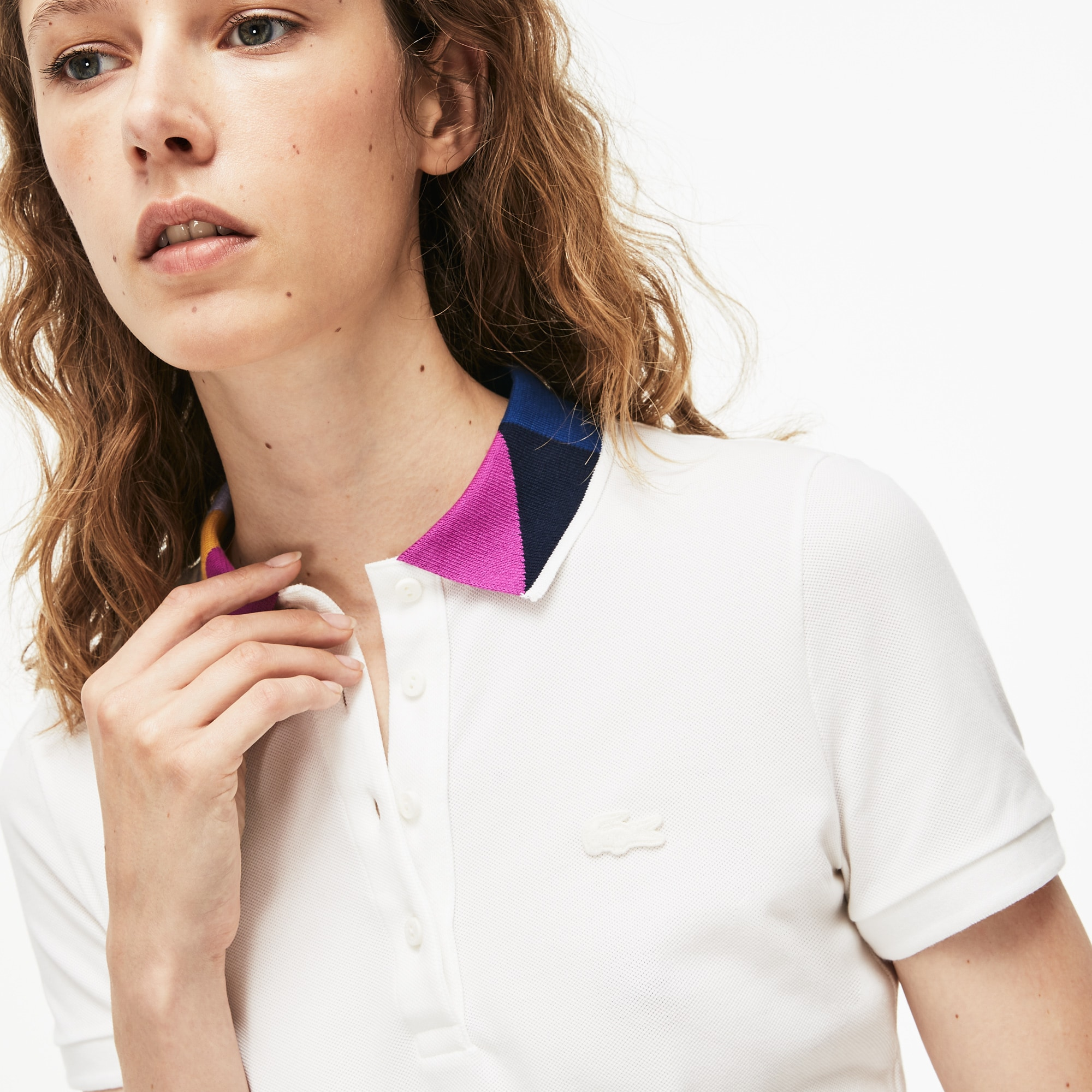 e3b35d8c Women's Lacoste Slim Fit Colourblock Neck Stretch Mini Piqué Polo Shirt