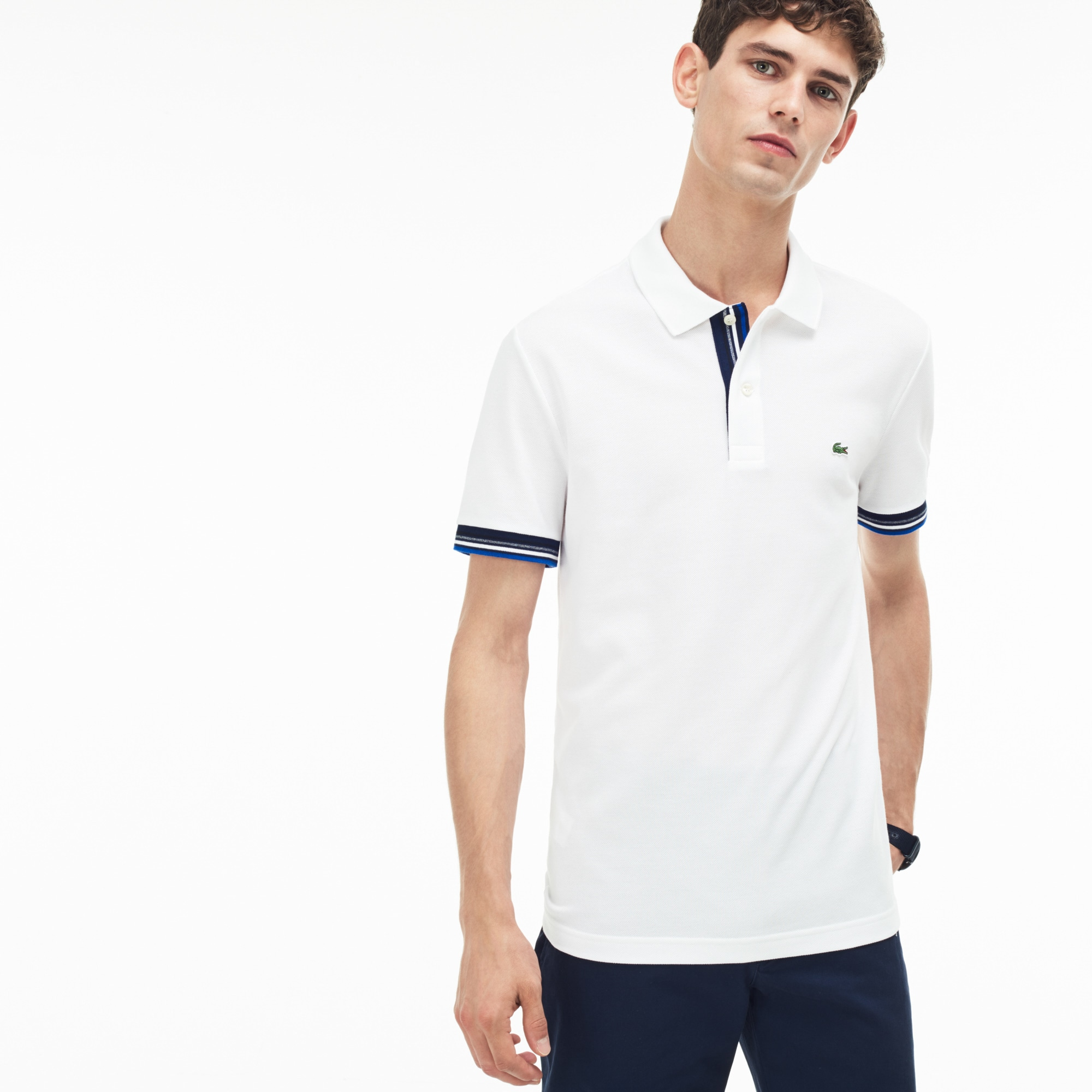 Men's Lacoste Slim Fit Piped Two-Ply Cotton Petit Piqué Polo Shirt