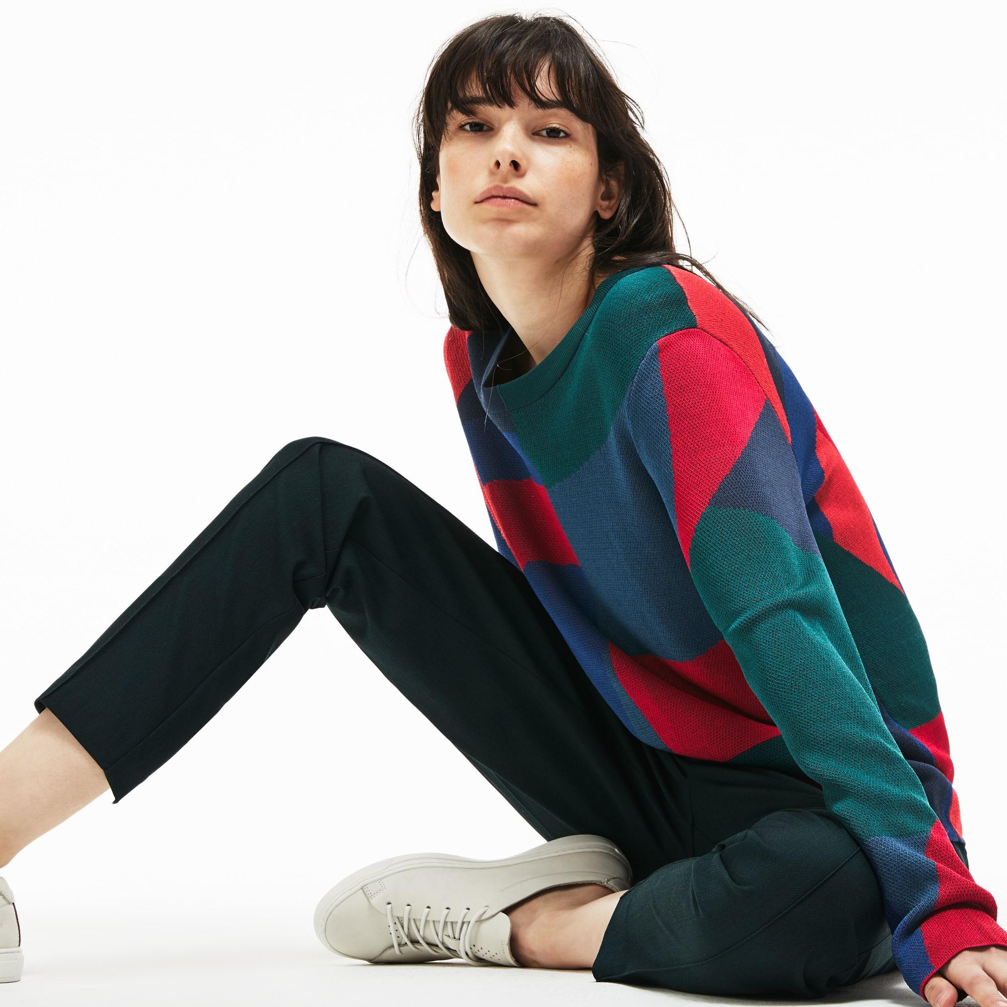 Women's Crew Neck Colorblock Print Jacquard Sweater